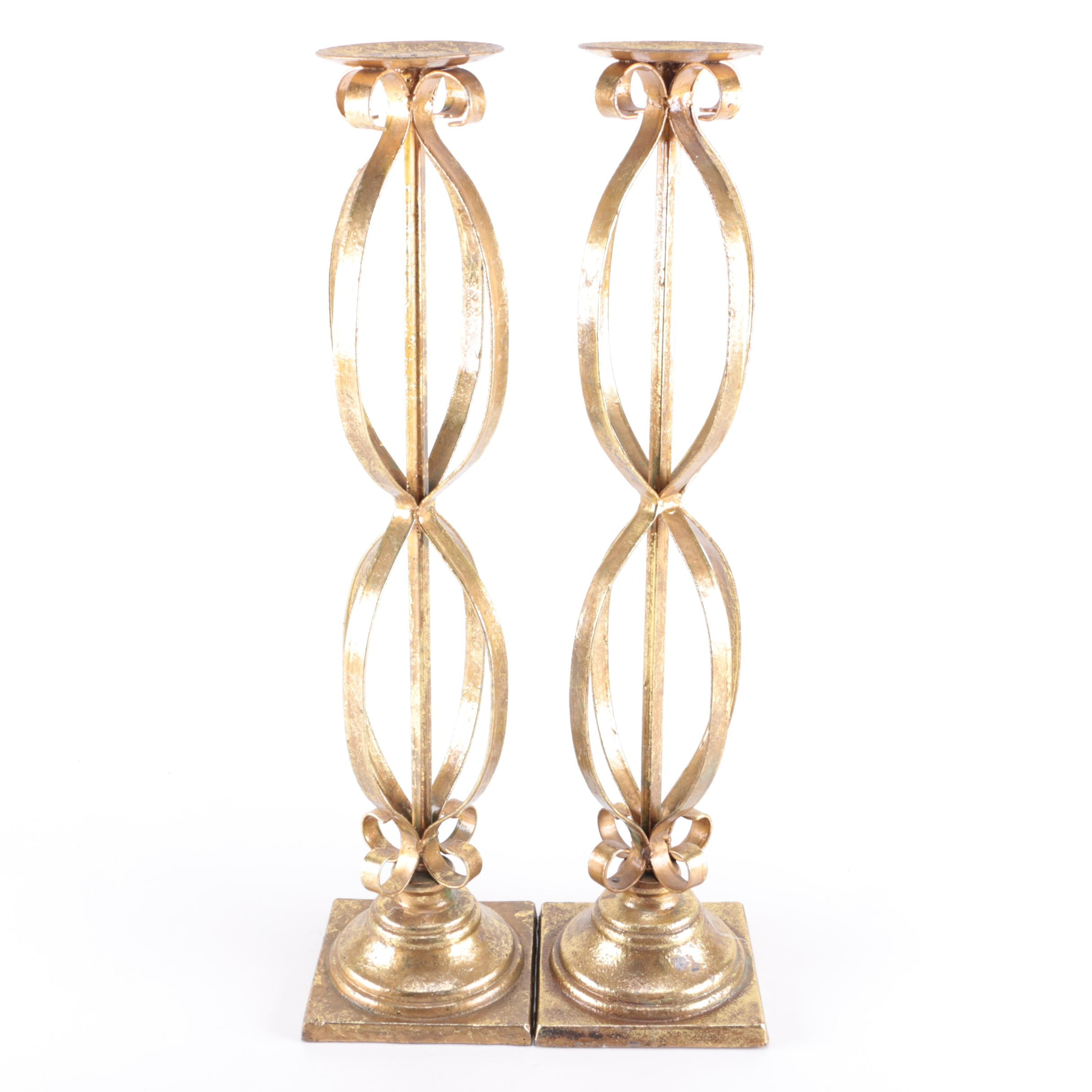 Gold Tone Metal Pillar Candle Holders