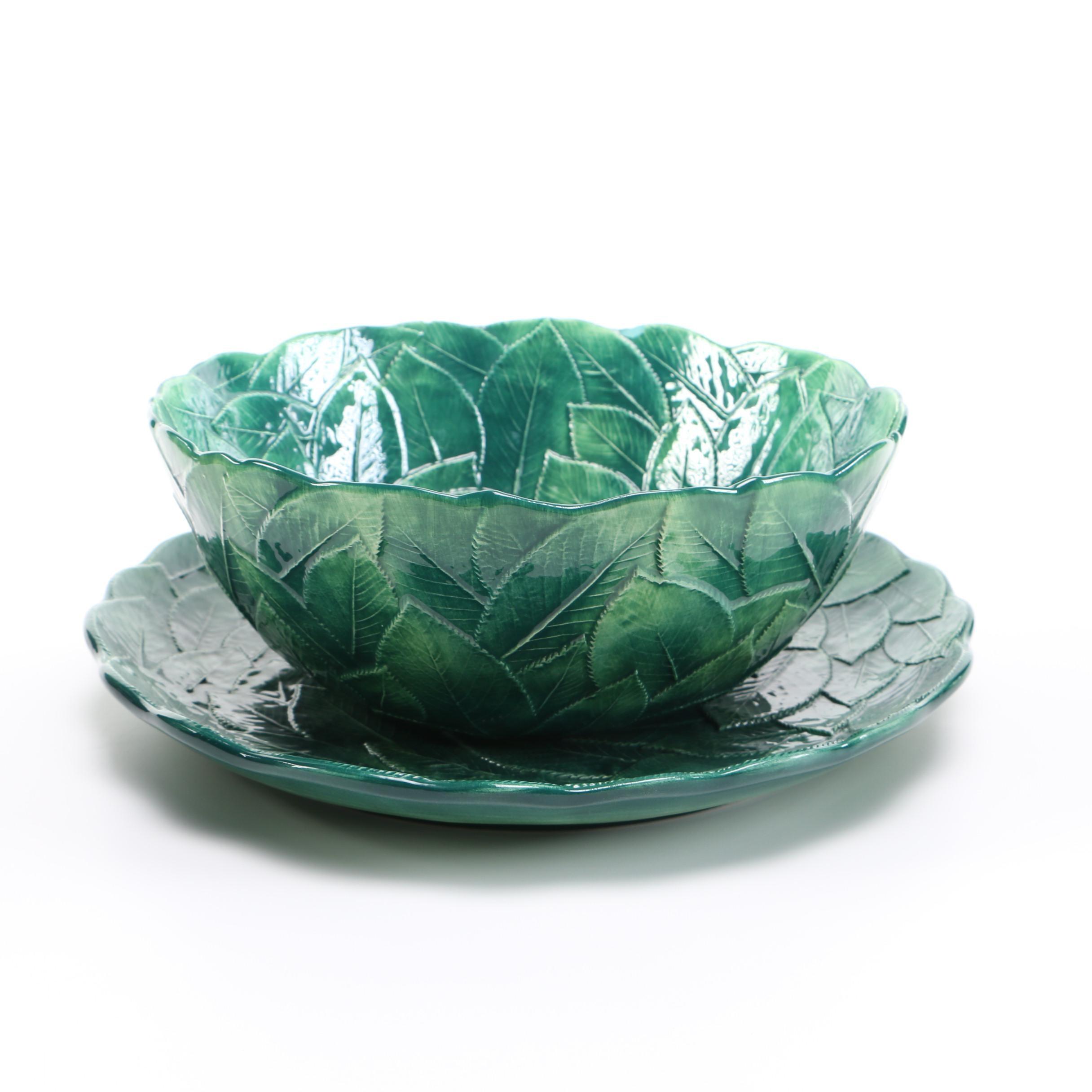 Italian Majolica Ceramic Leaf Bowl and Serving Plate