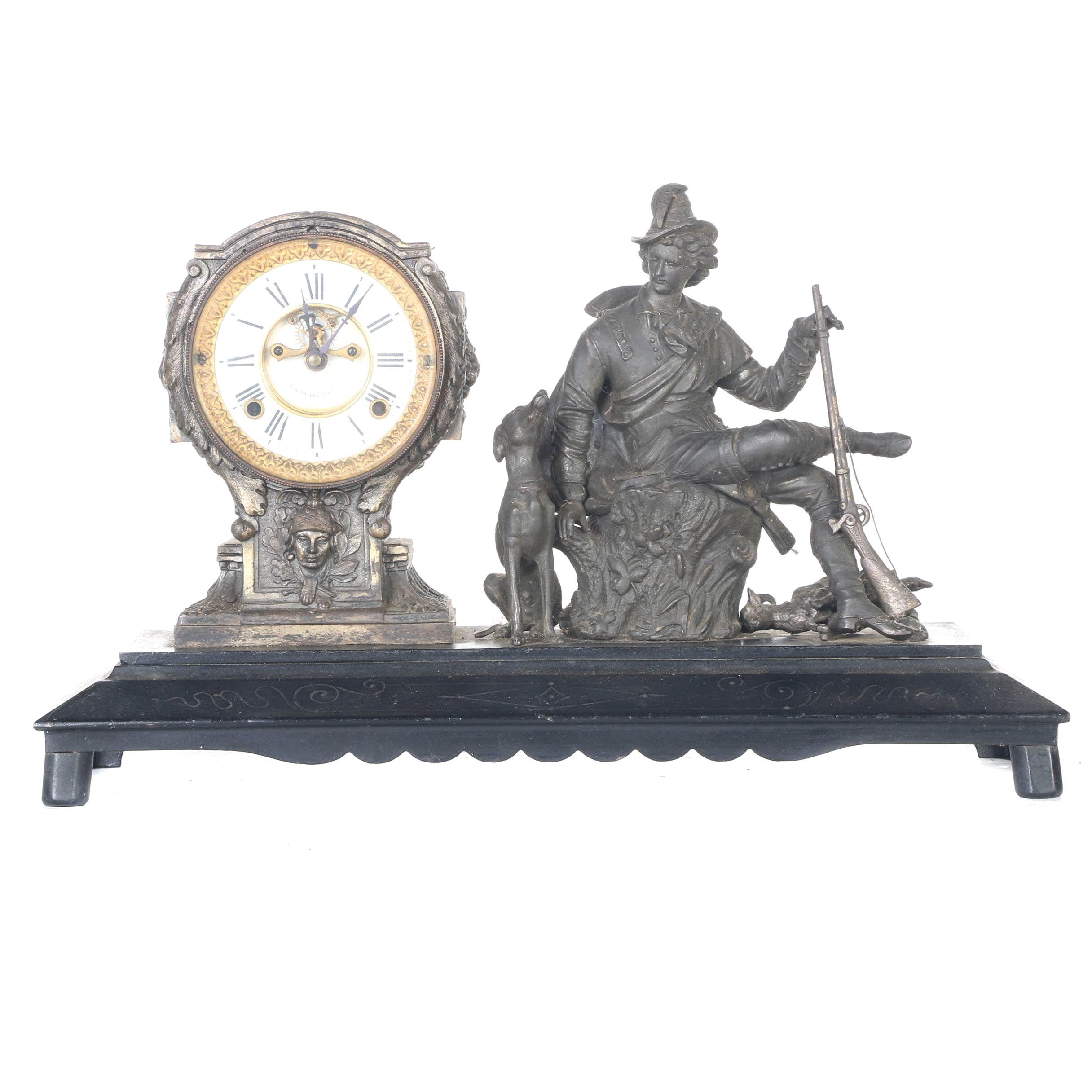 New Haven Clock Co. Hunting Mantel Clock