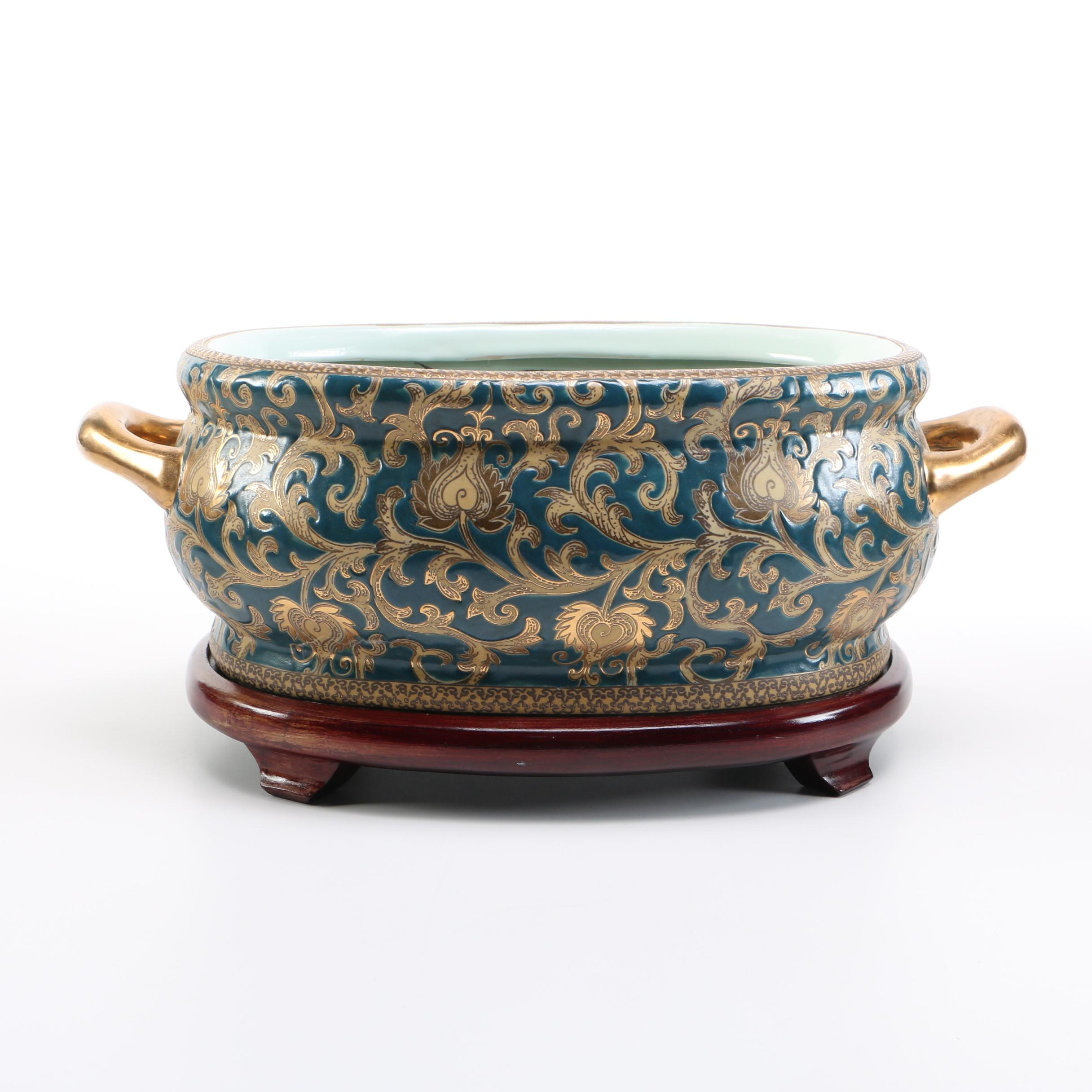 Decorative Chinese Ceramic Foot Bath and Wooden Stand