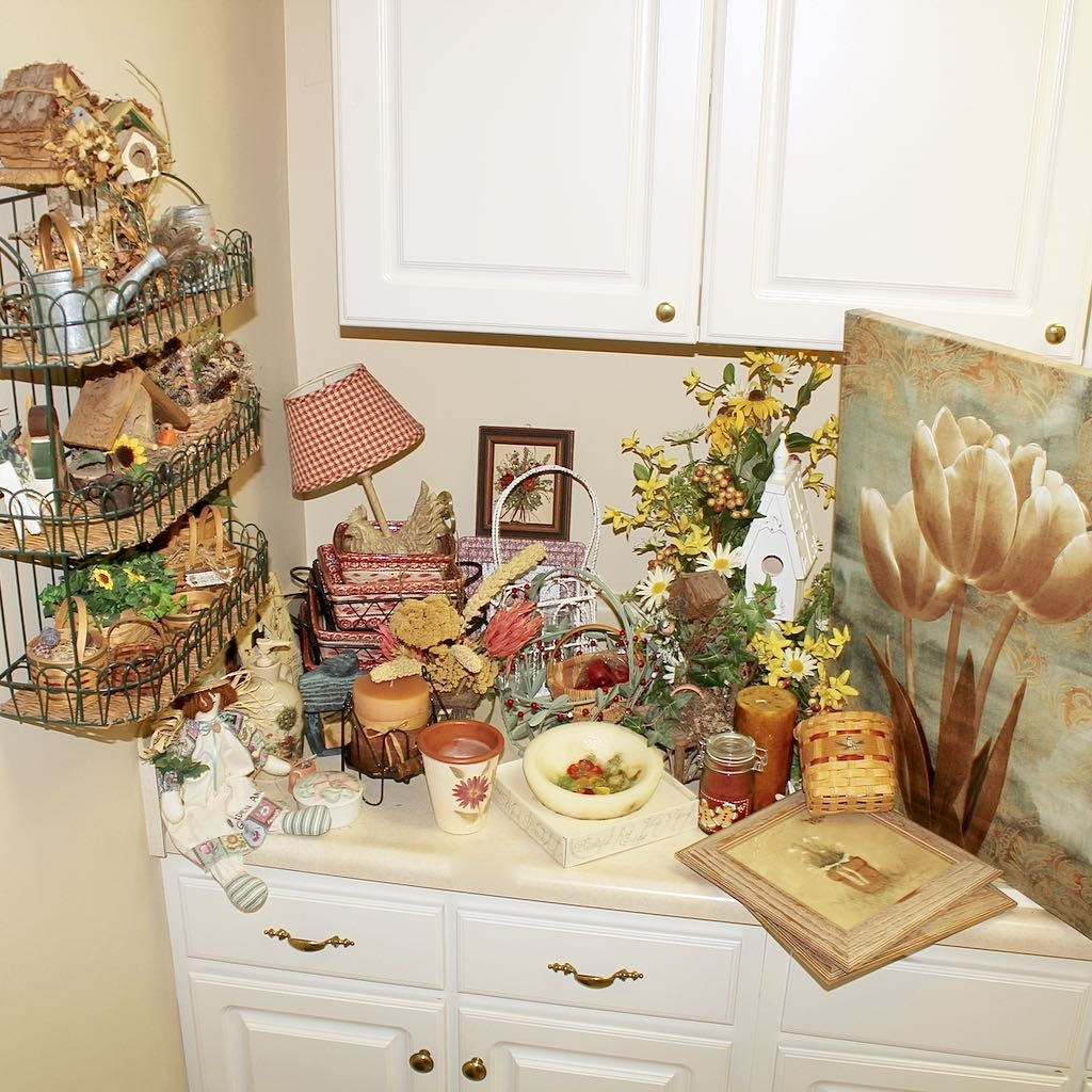 Generous Assortment of Decor Items Includes Handcrafted Baskets