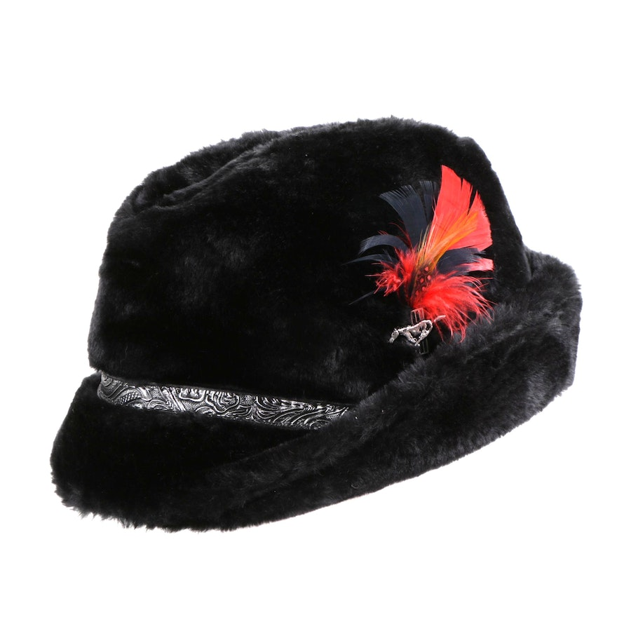 00164ae0a4a2e Men s Black Faux Fur Tyrolean Hat