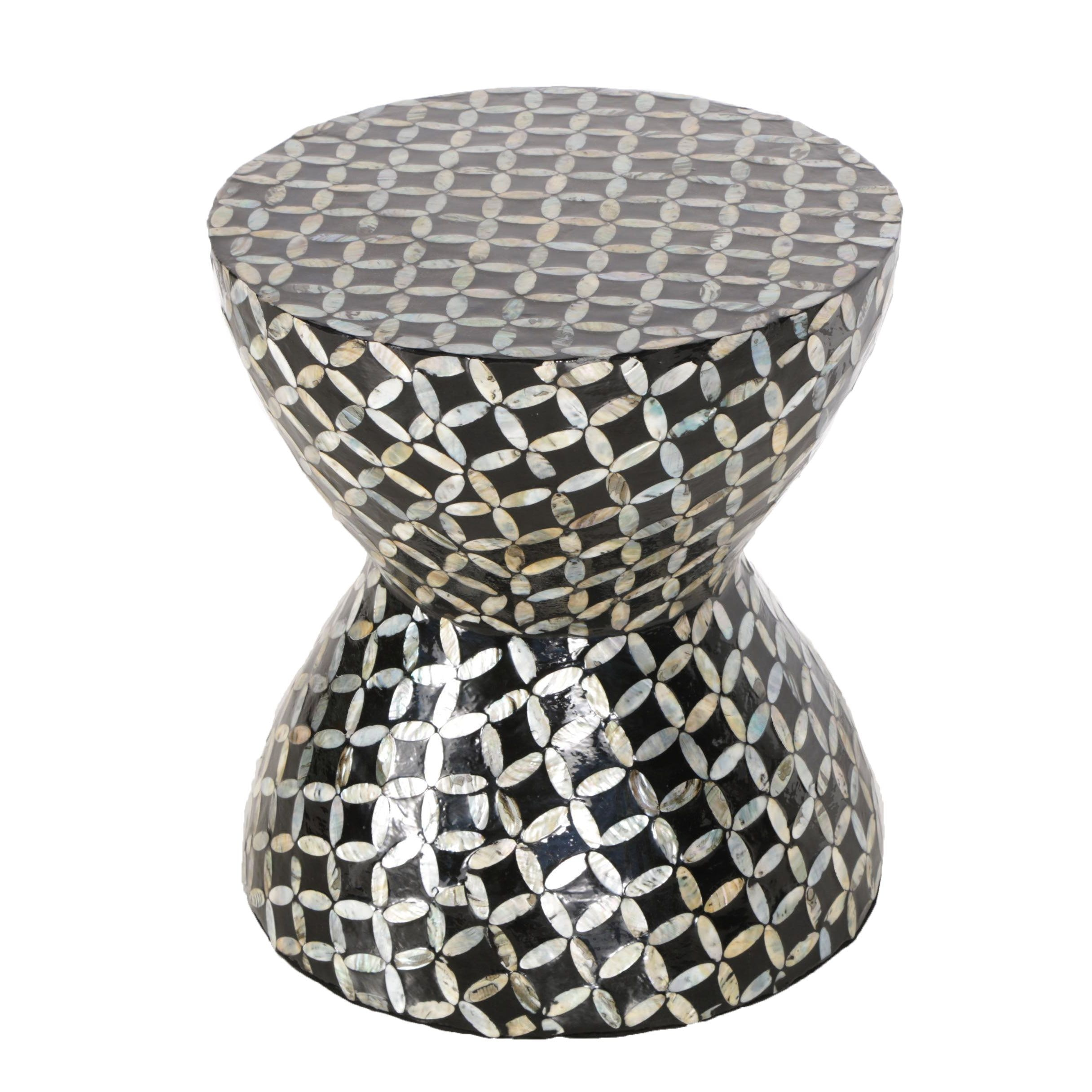 Hourglass Accent Table With Mother of Pearl Inlay