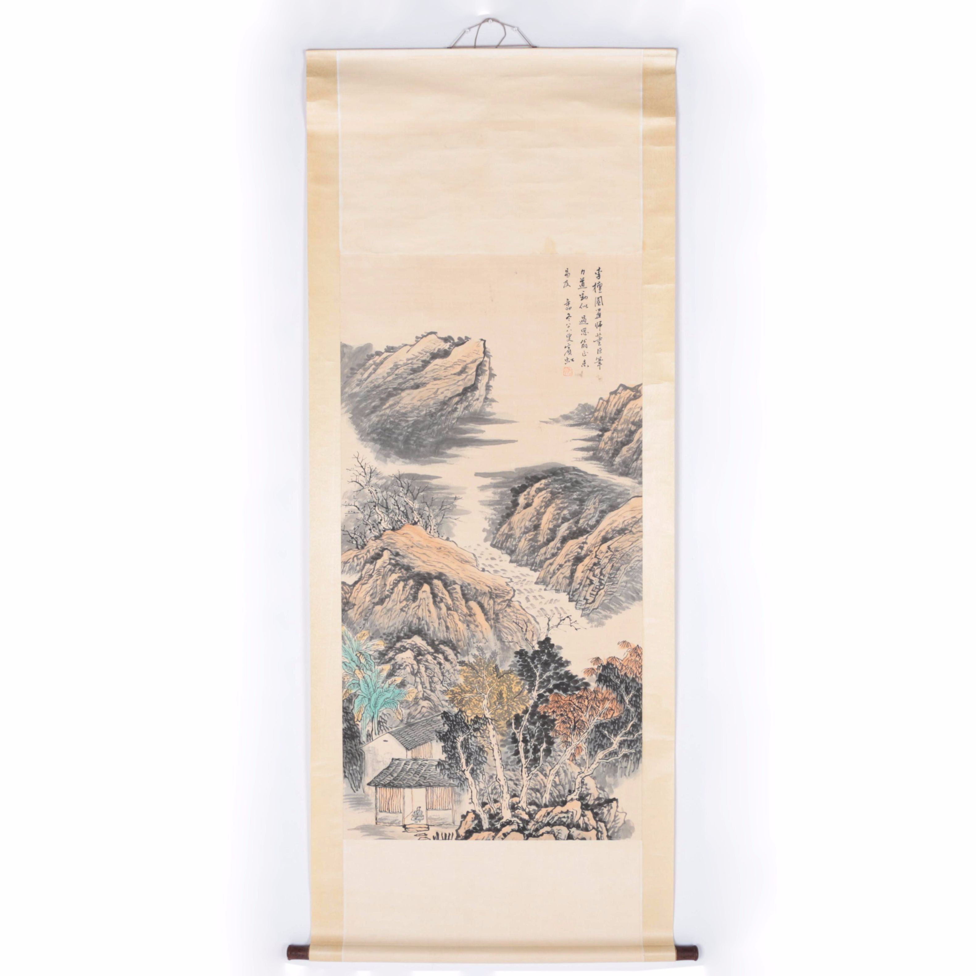 East Asian Style Ink and Watercolor Painting of House in Rocky Landscape on Hanging Scroll