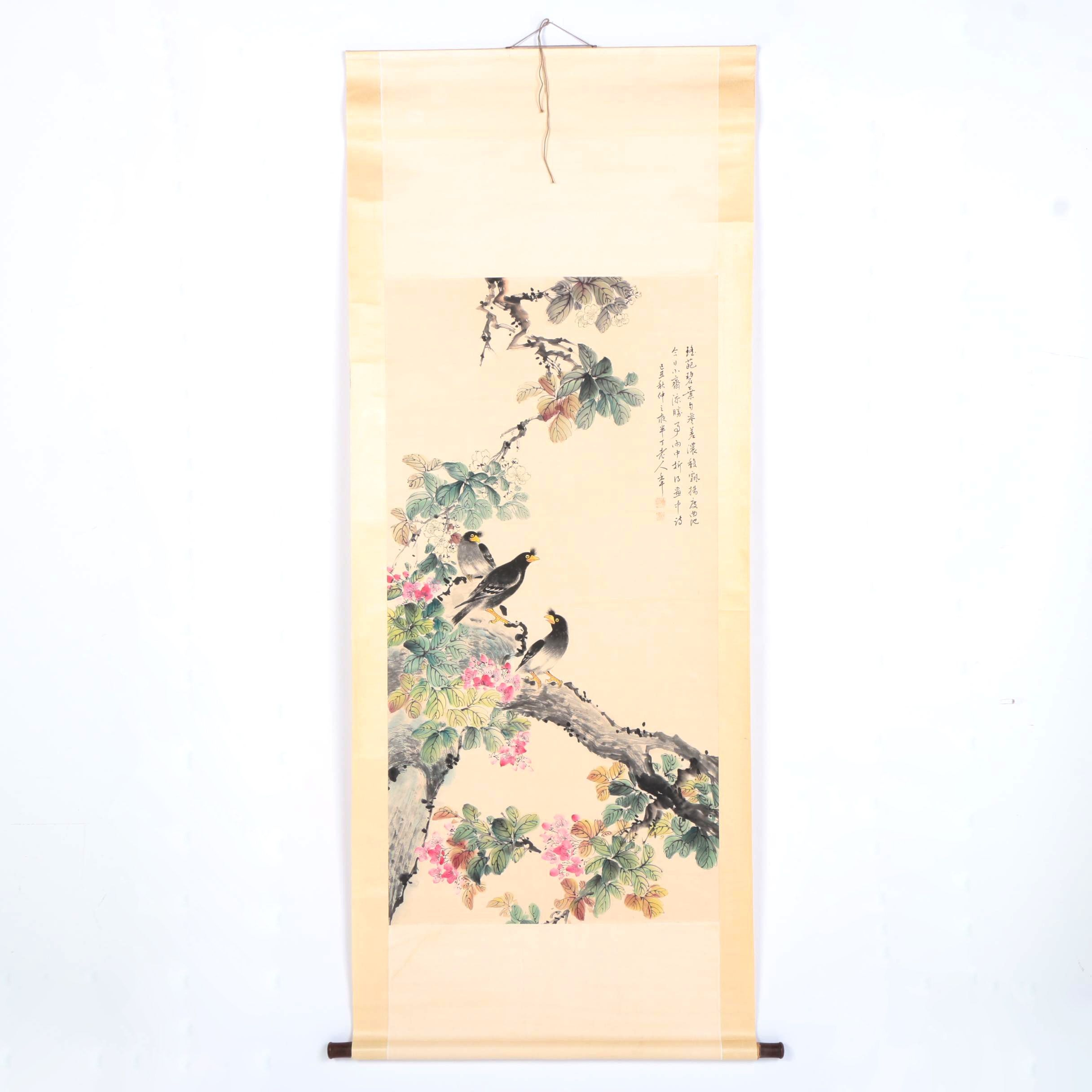 East Asian Ink and Watercolor Scroll of Birds on a Branch