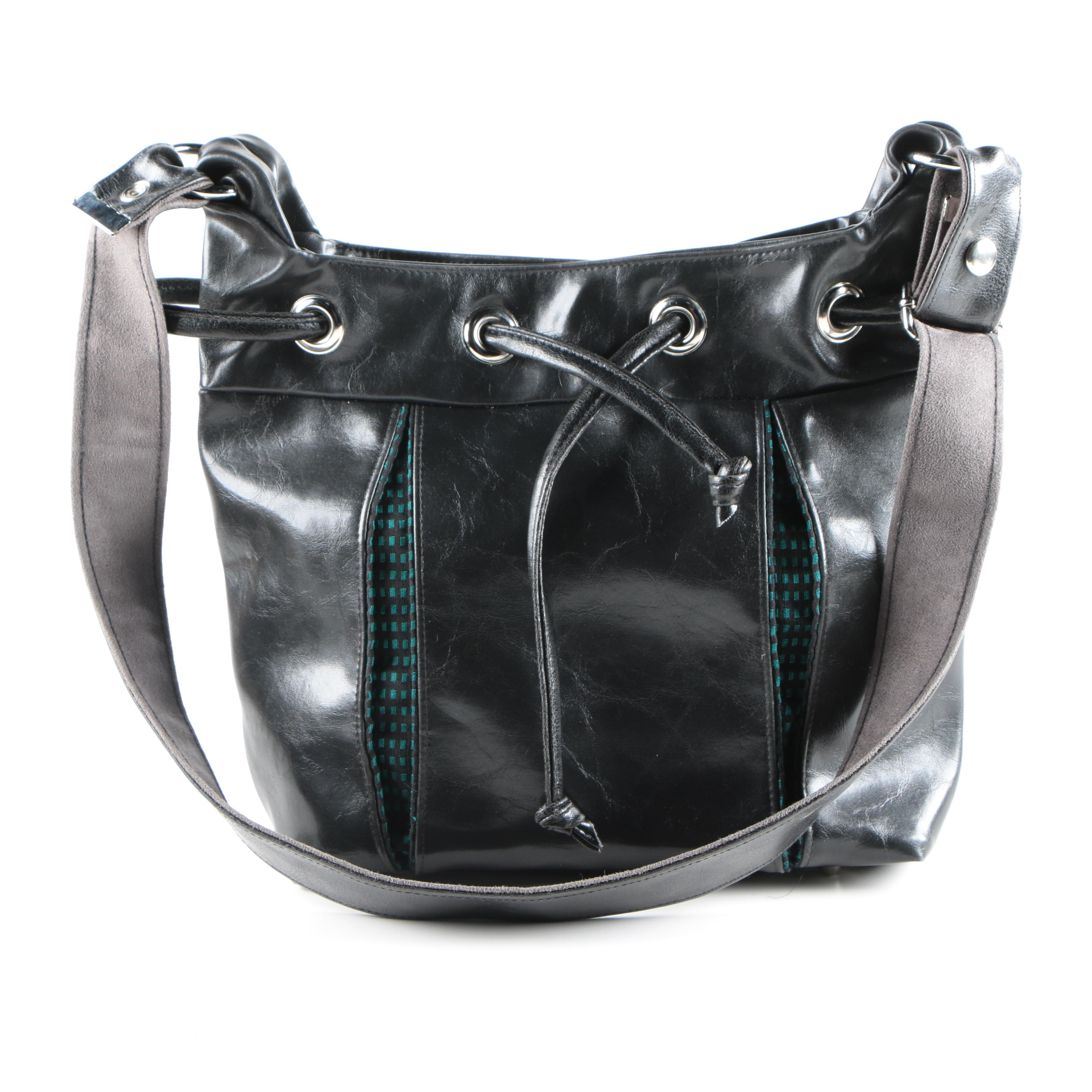 Crystalyn Kae Black Leather Shoulder Bag