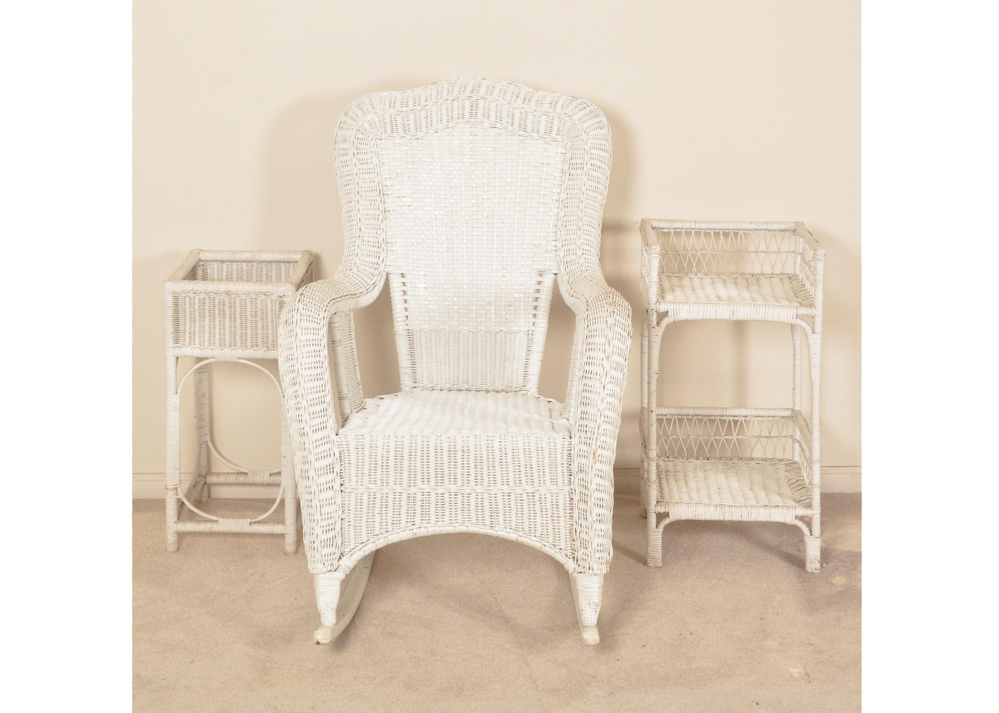 Wicker Rocking Chair, Shelf and Planter
