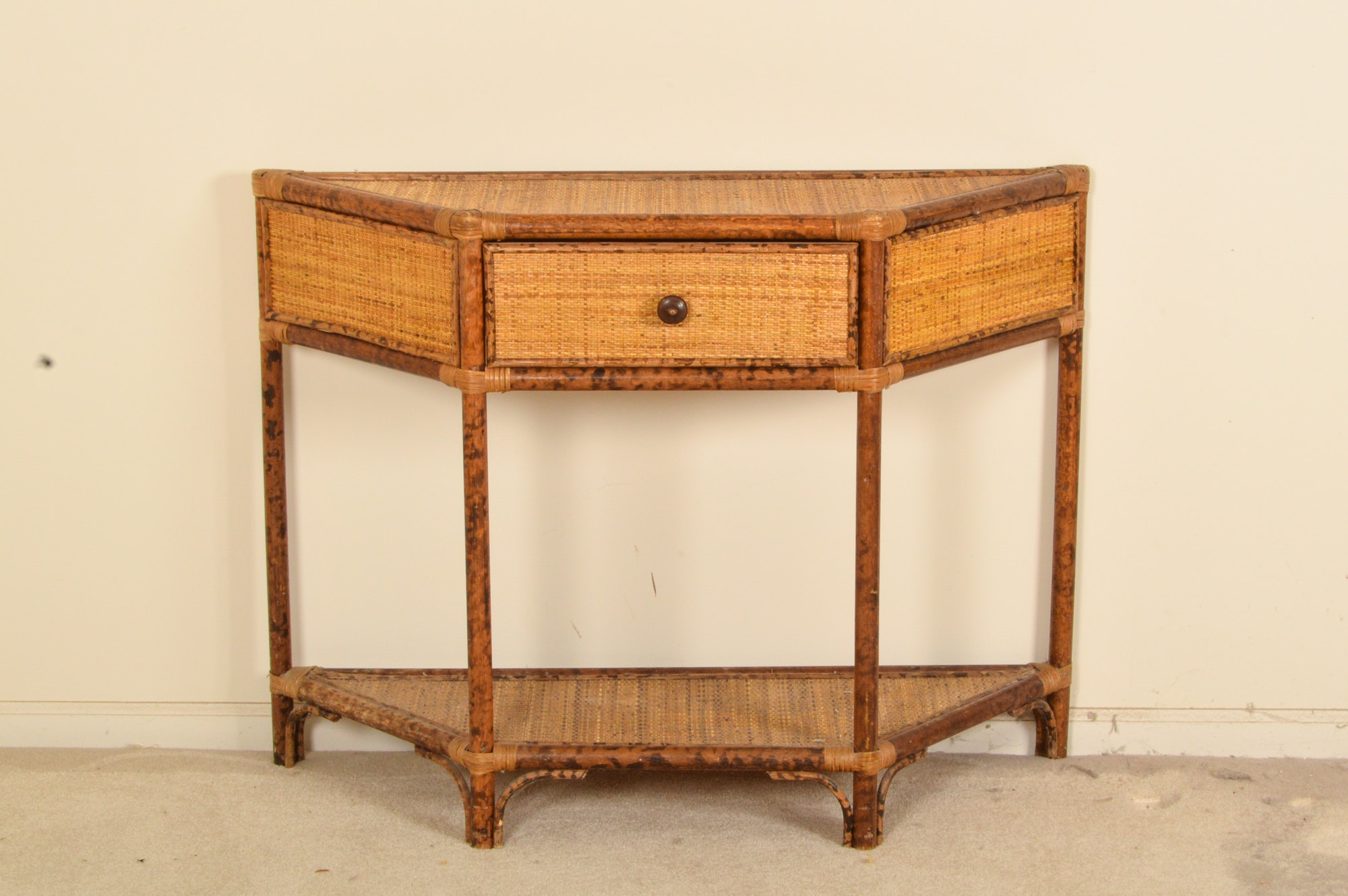 Faux Bamboo Console Table With Woven Panels