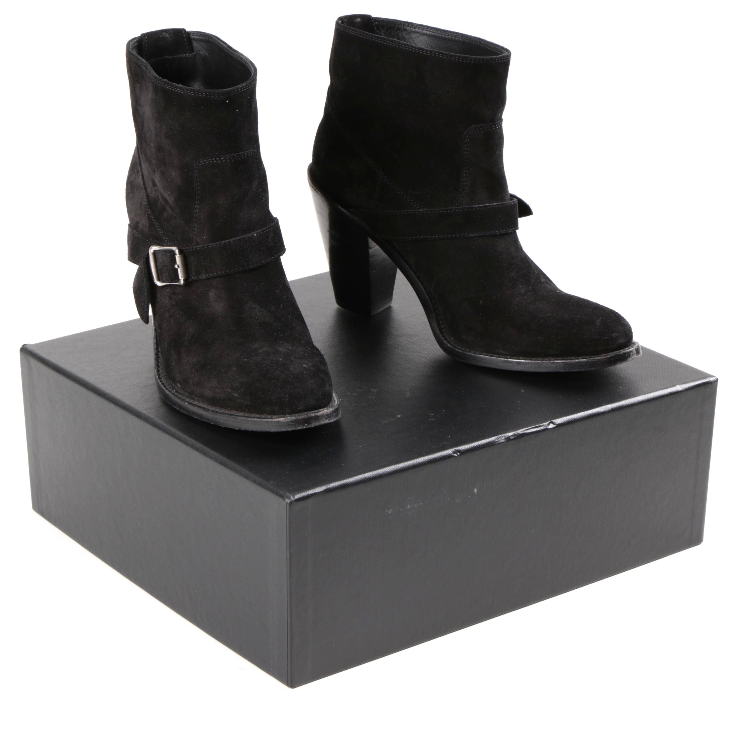 Black Suede Chunky Heel Boots by Saint Laurent