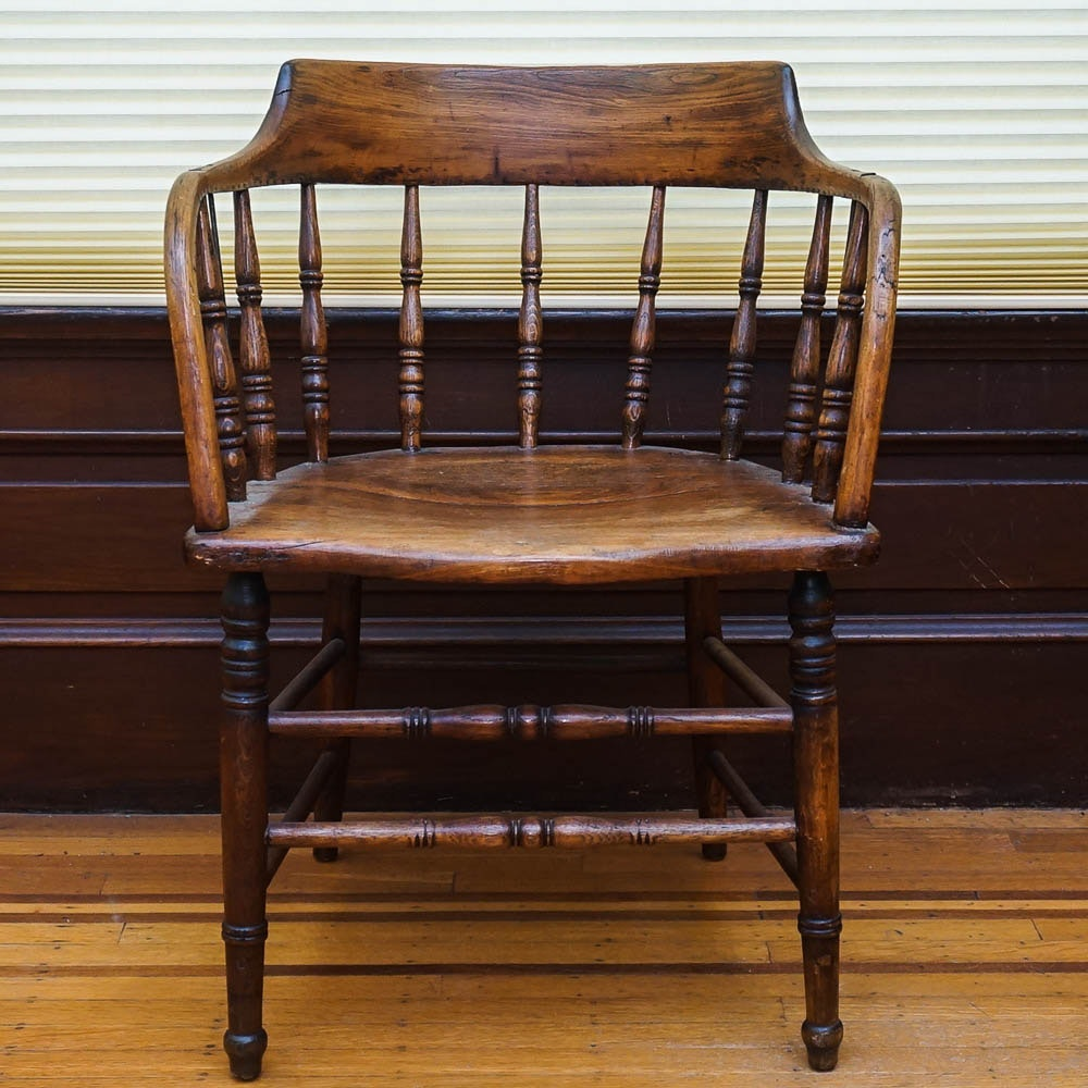 Vintage Wooden Kitchen Chairs: Vintage Low-Back Oak Captain's Chair : EBTH