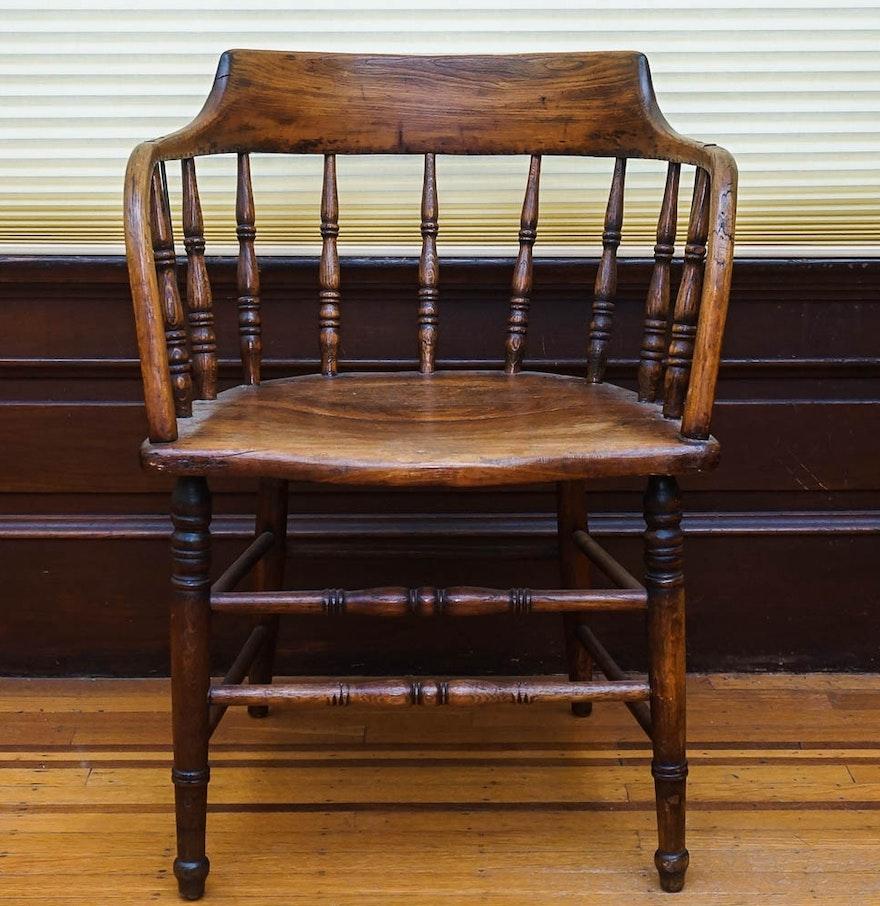 Vintage low back oak captain s chair ebth