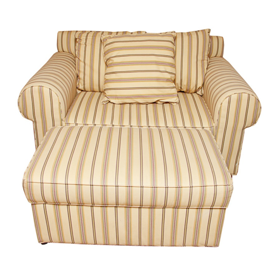 Marvelous Beige Striped Sofa Chair With Ottoman Andrewgaddart Wooden Chair Designs For Living Room Andrewgaddartcom