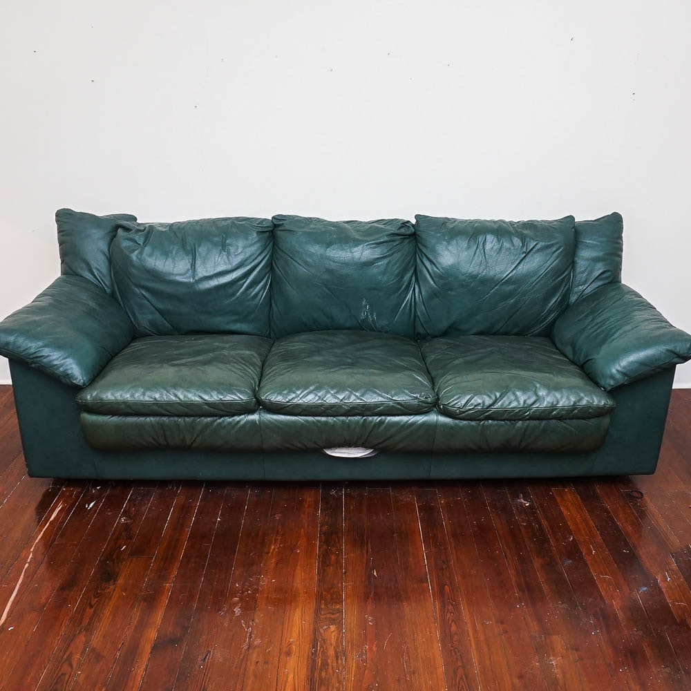 Green Faux Leather Sleeper Sofa By Comodo Italia Ebth