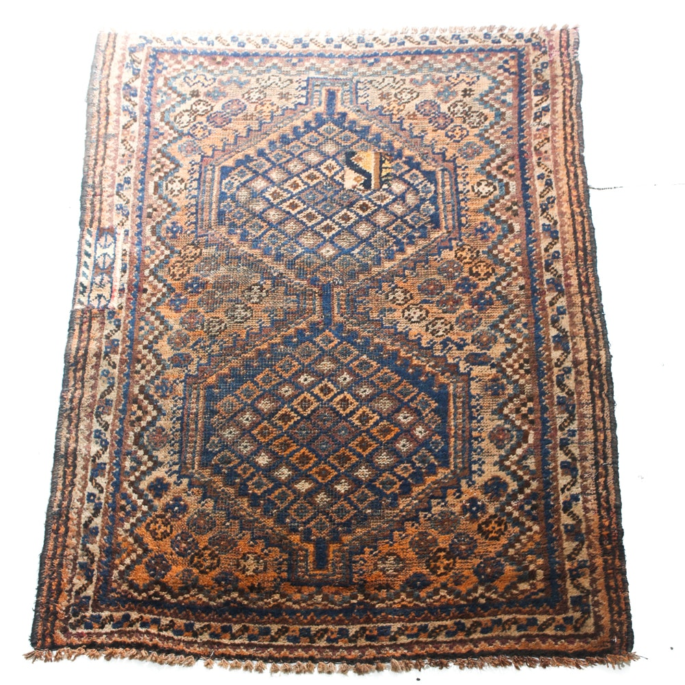 Antique Hand-Knotted Persian Qashqai Shiraz Accent Rug
