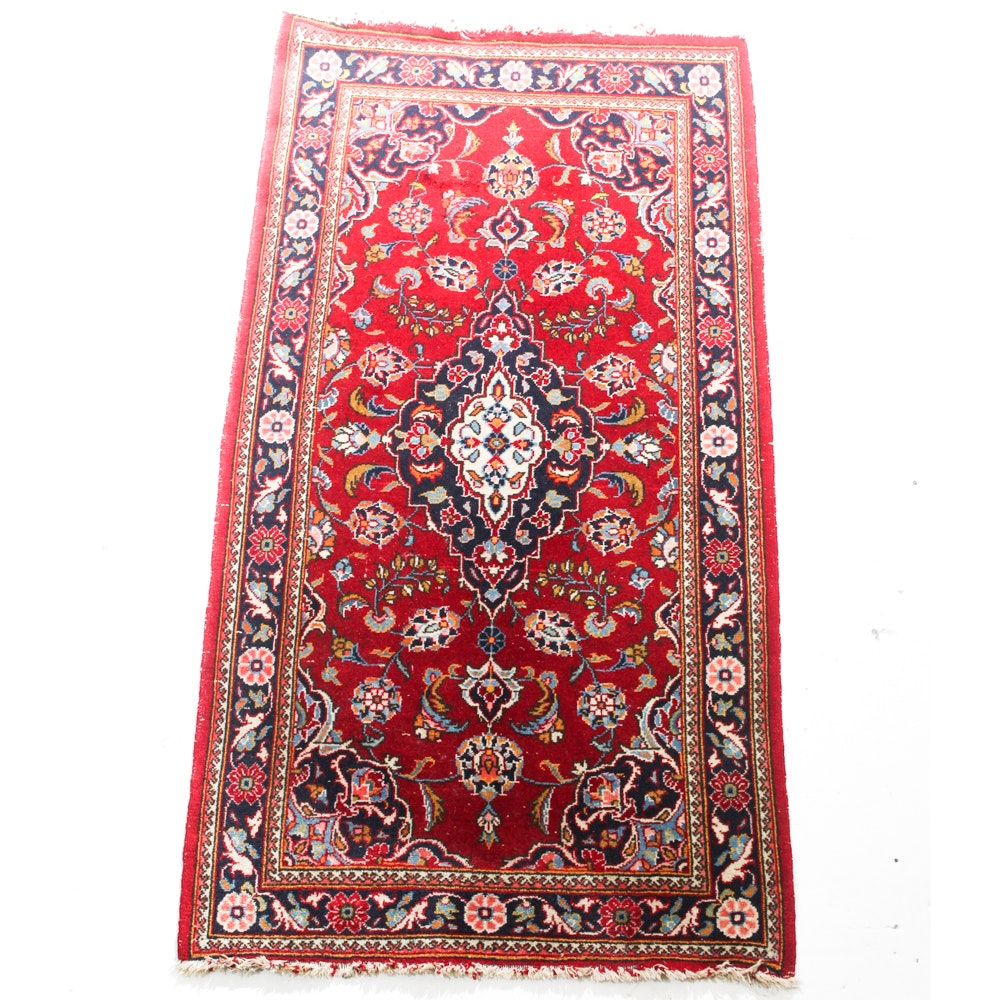 Semi-Antique Hand-Knotted Persian Kashan Accent Rug