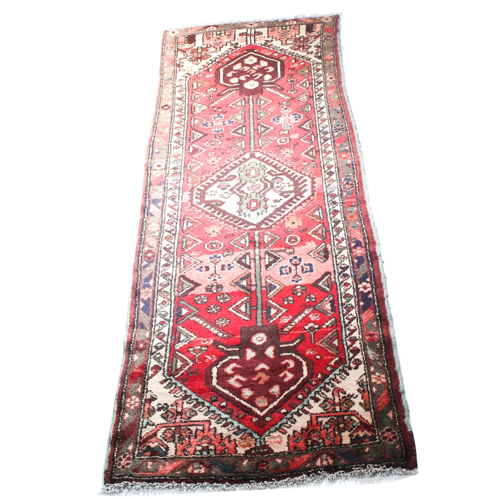 Semi-Antique Hand-Knotted Persian Bakhtiari Carpet Runner