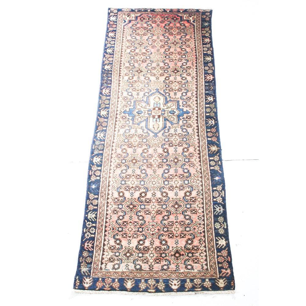 Semi-Antique Hand-Knotted Persian Malayer Sarouk Carpet Runner