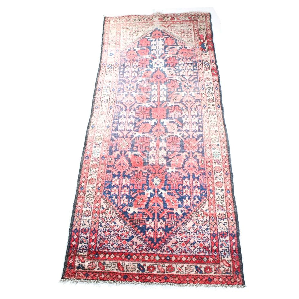 Antique Hand-Knotted Persian Zanjan Carpet Runner