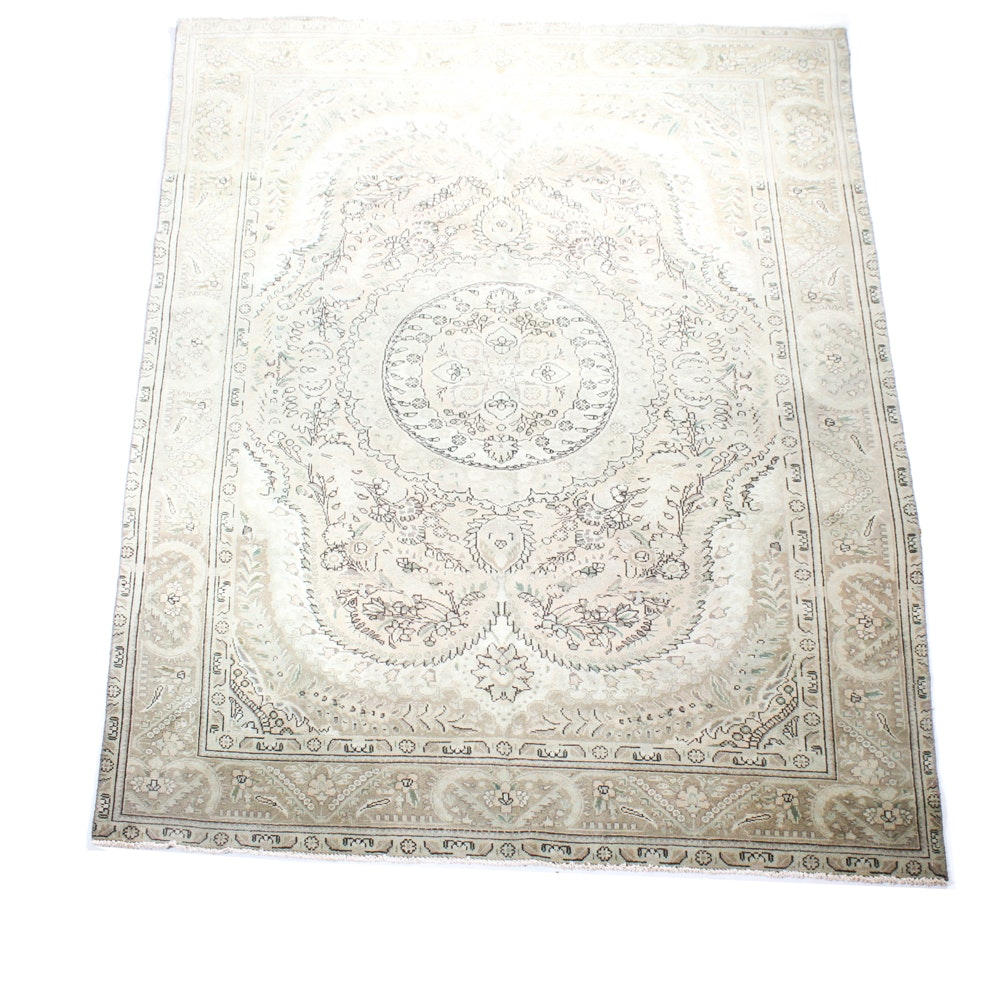 Antique Hand-Knotted Persian Tabriz Wool Area Rug
