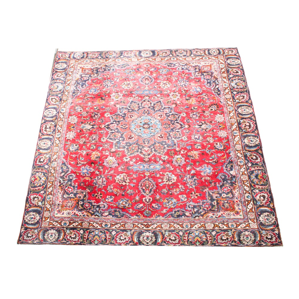 Semi-Antique Hand-Knotted Persian Mashad Area Rug