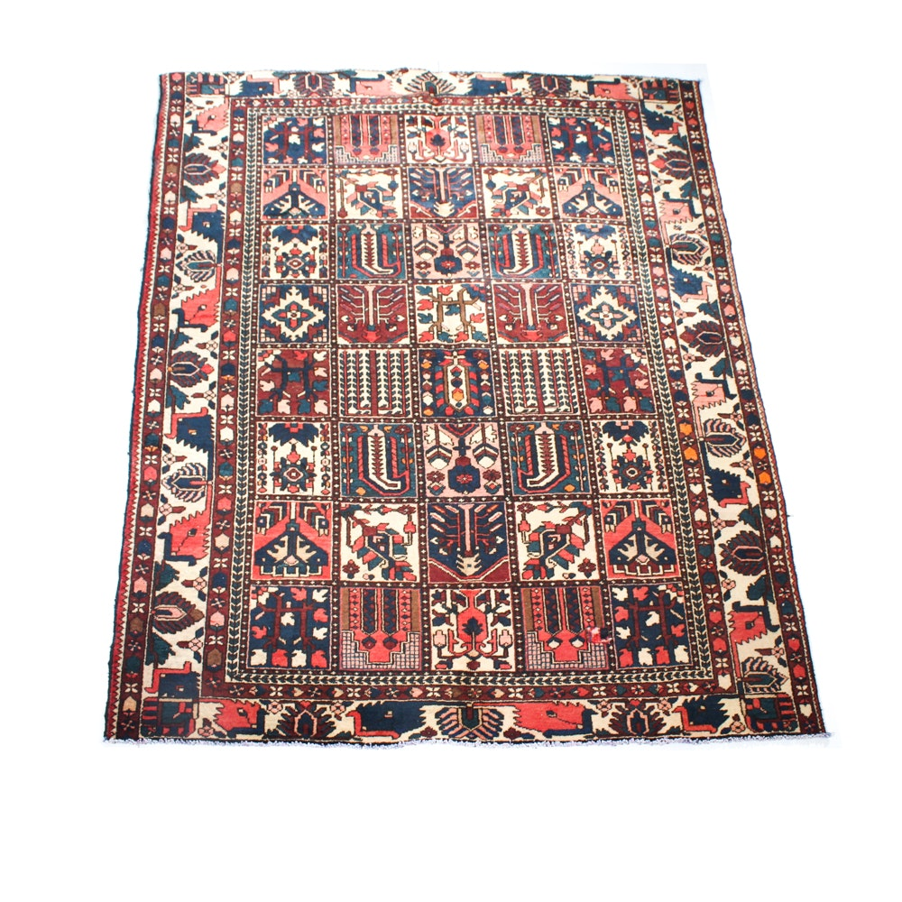 Semi-Antique Hand-Knotted Persian Bakhtiari Area Rug