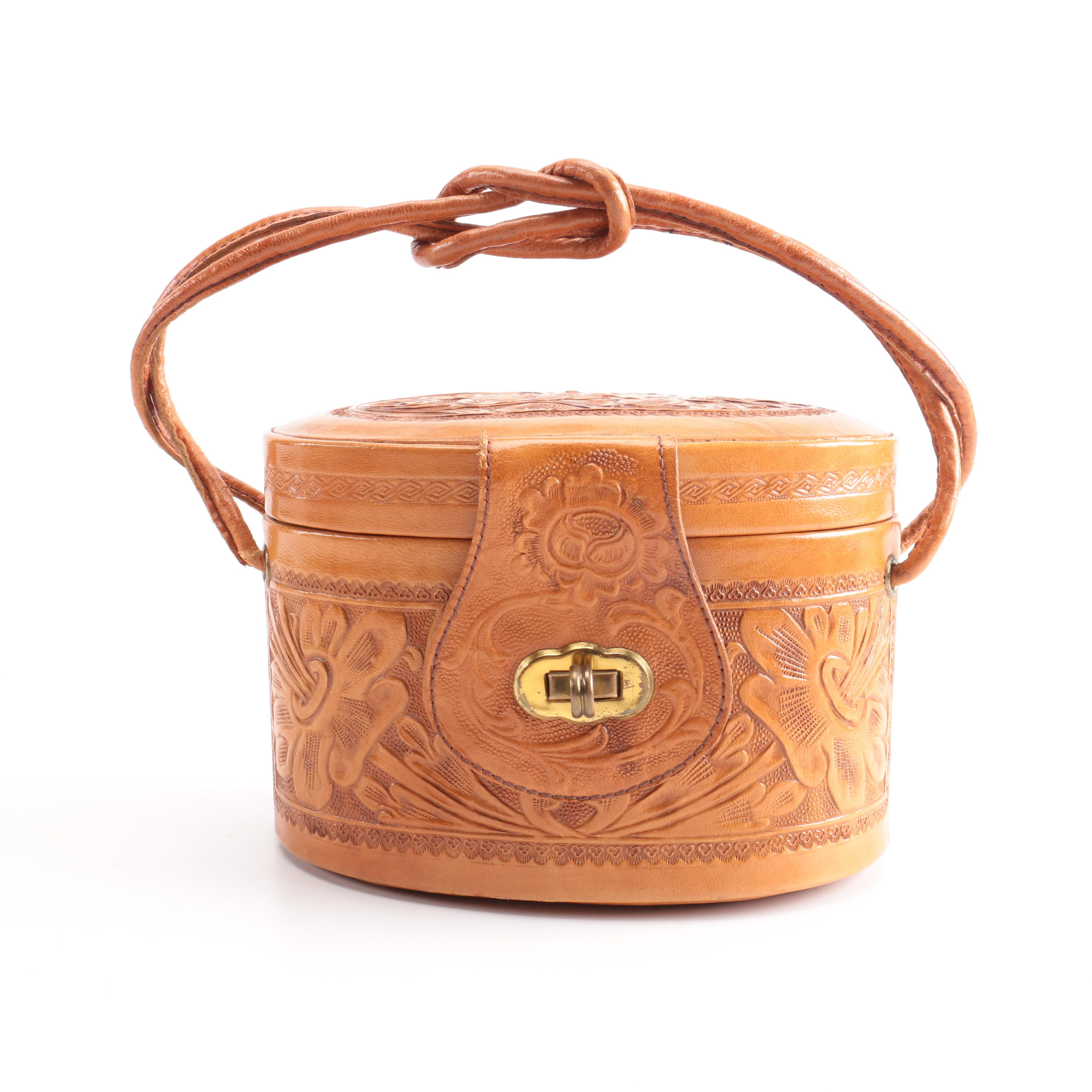 Handcrafted Tooled Leather Box Bag