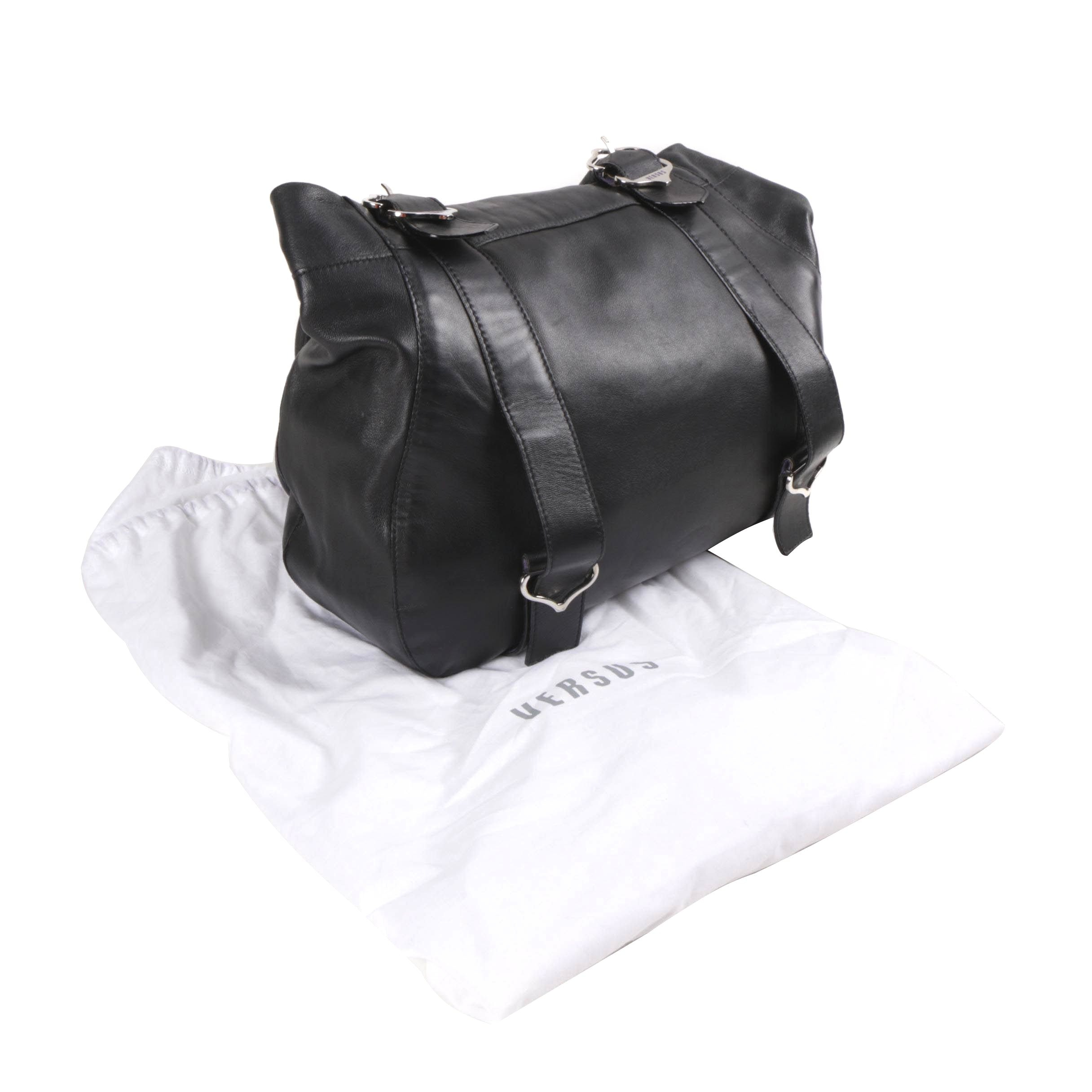 Versus Black Leather Tote Bag