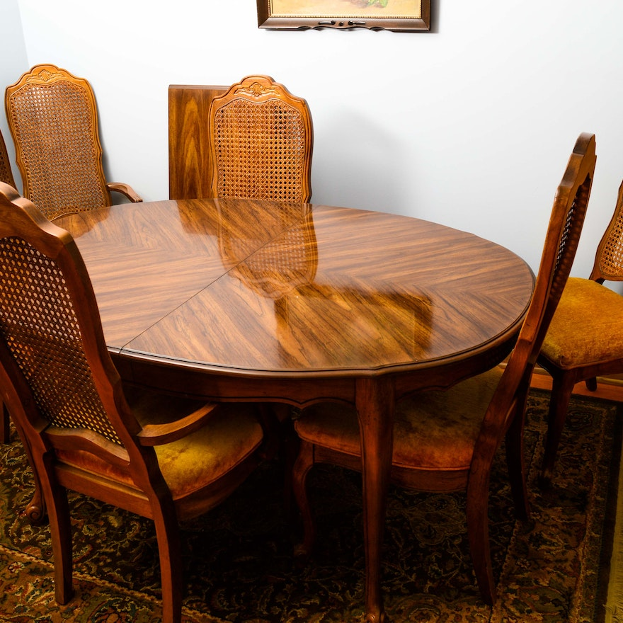 - Vintage French Provincial Style Dining Table With Cane Back Chairs
