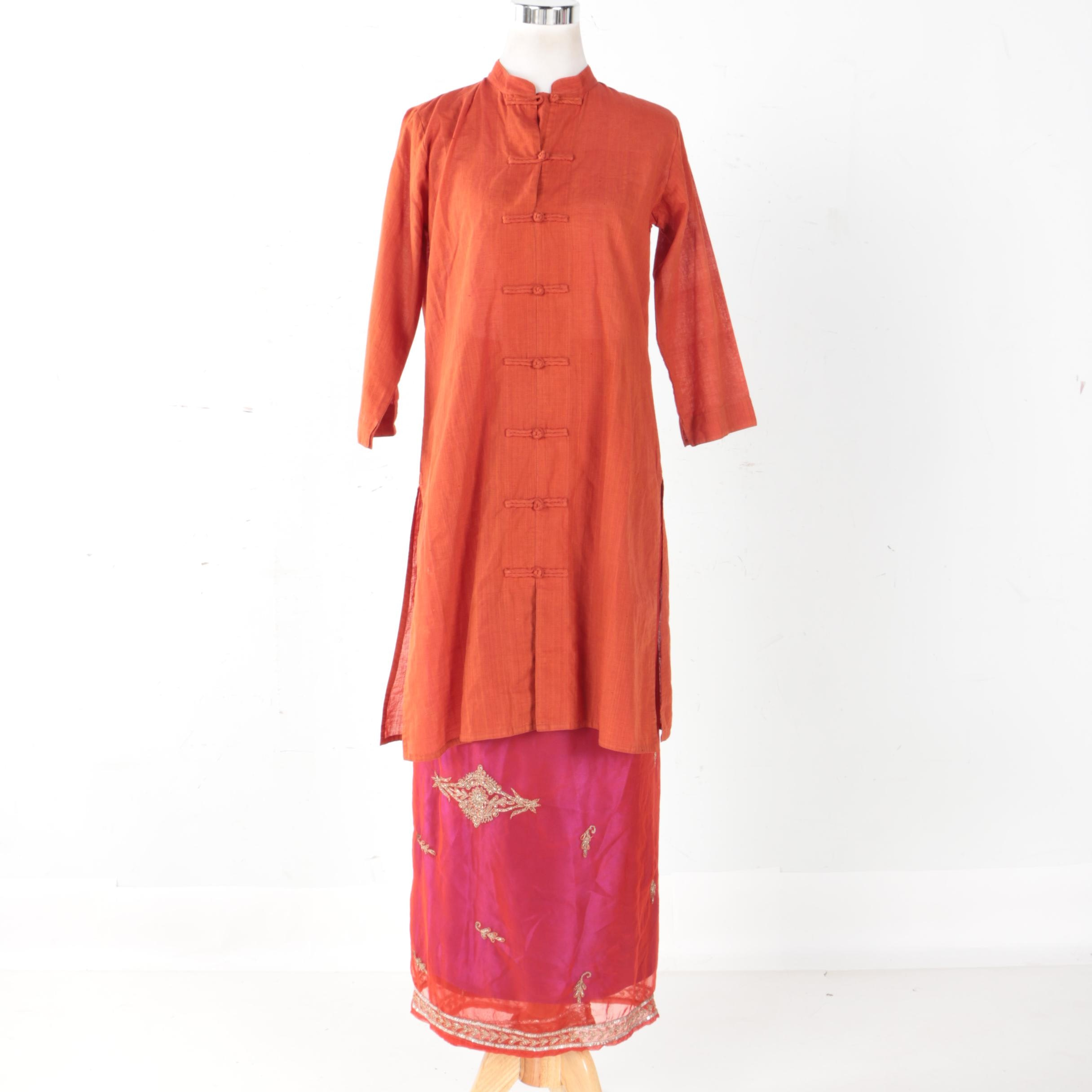 India Kurta Tunic and Wrap Skirt