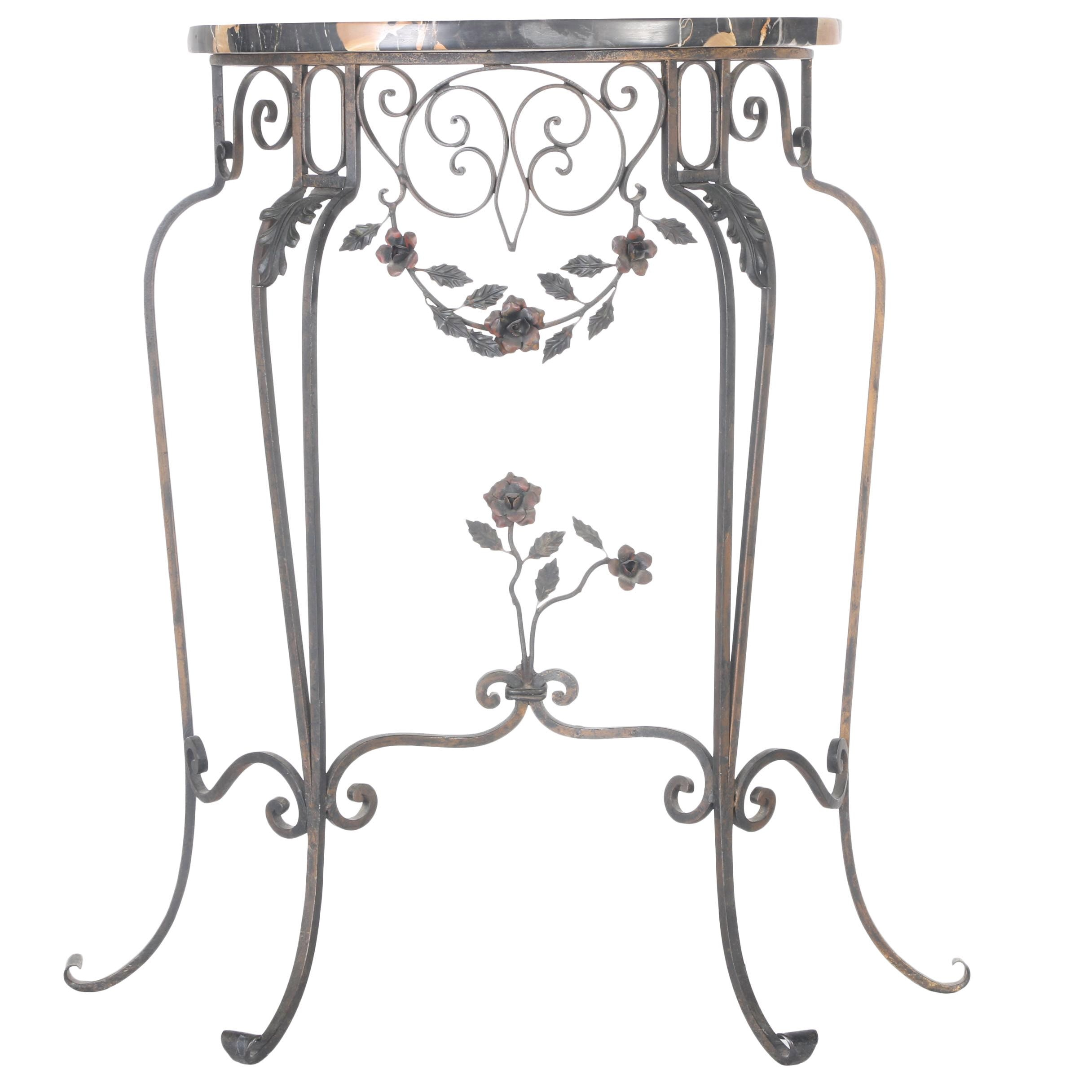 Metal Demilune Accent Table With Marble Top