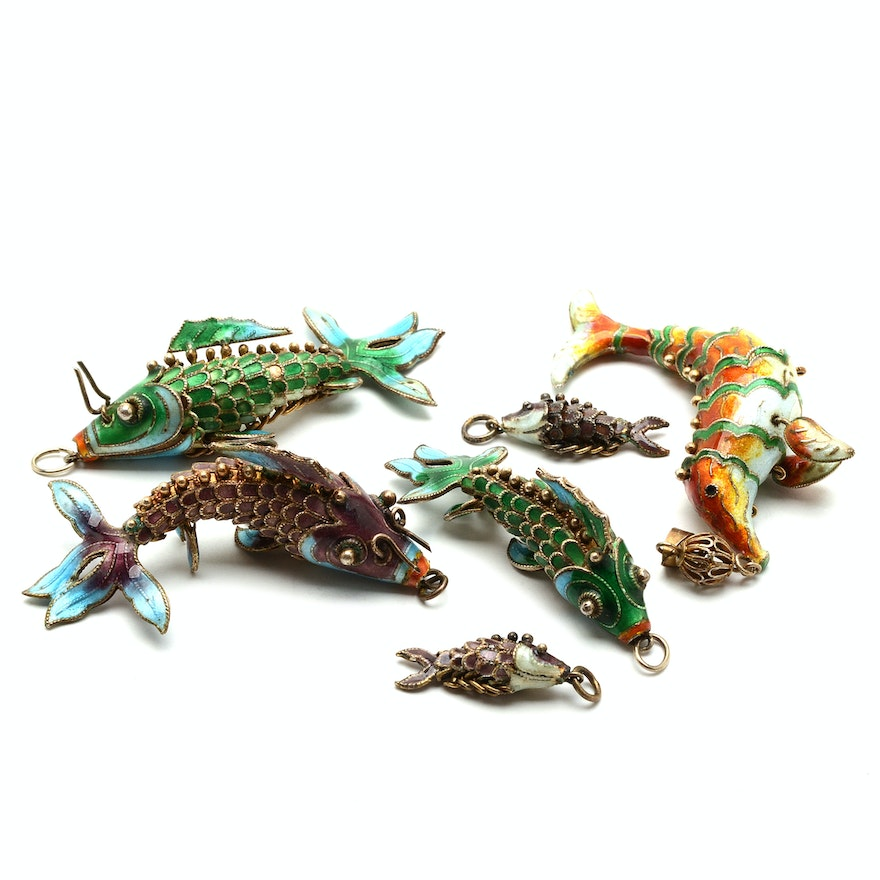 Sterling Articulated Fish Pendants