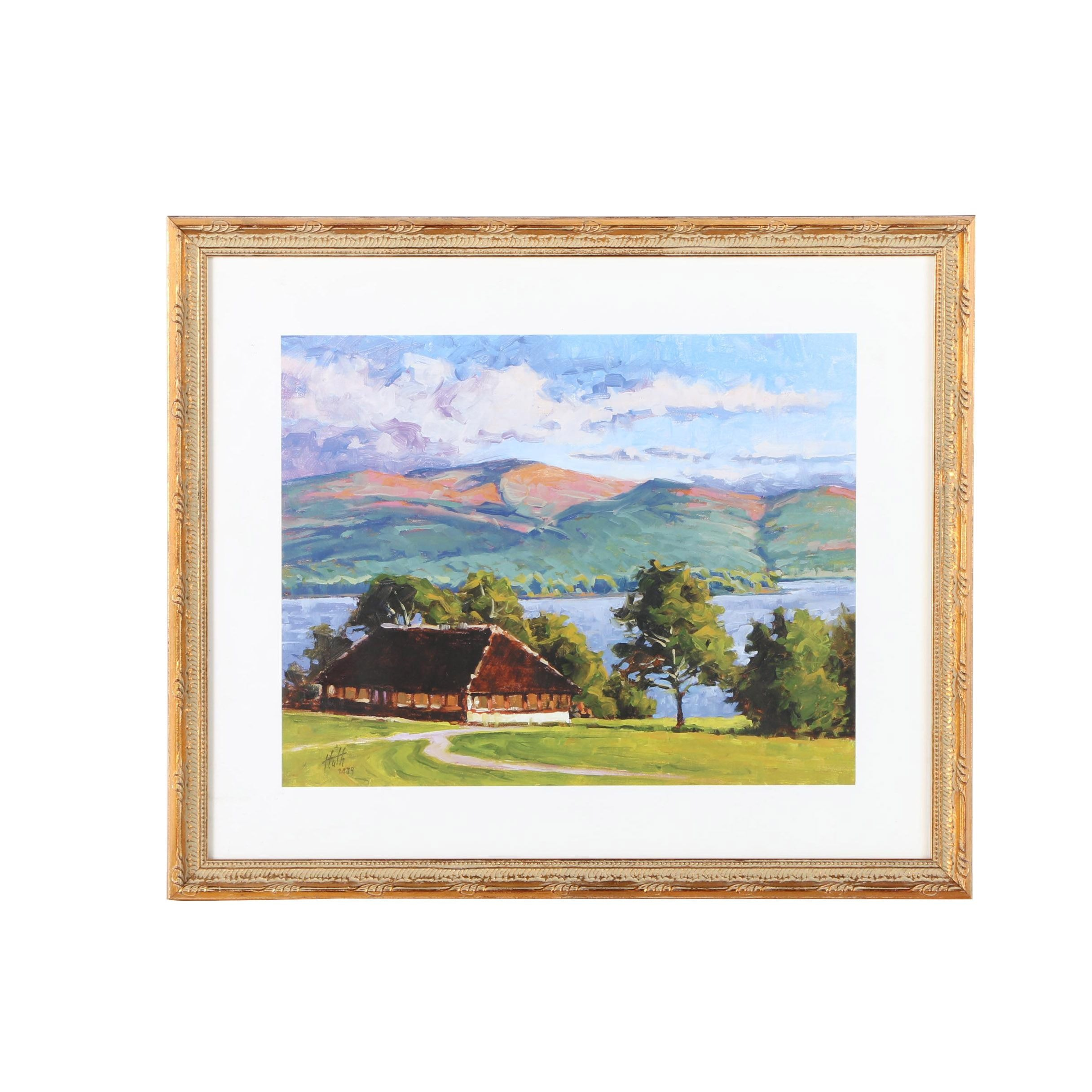 Framed Offset Lithograph After a Landscape Painting Signed Huth