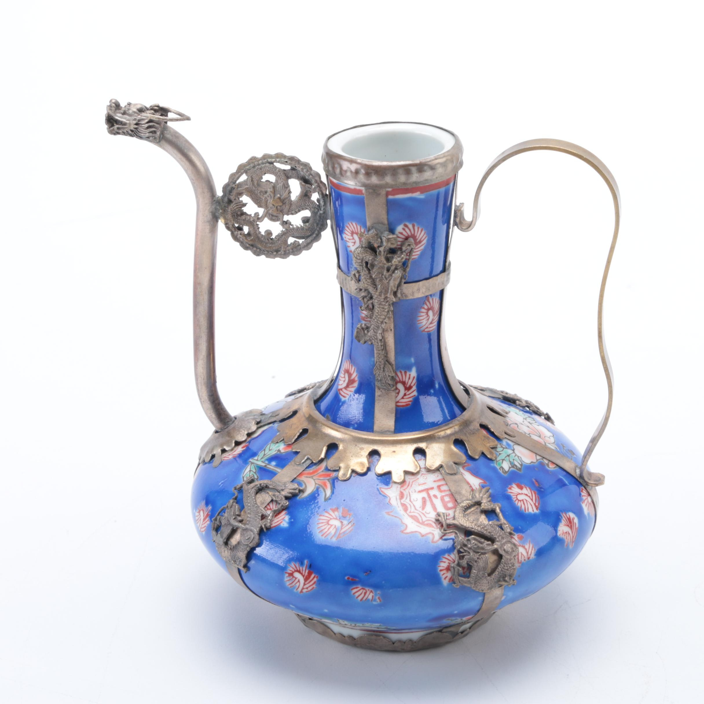 Chinese Hand-Painted Ceramic Teapot With Brass Overlay