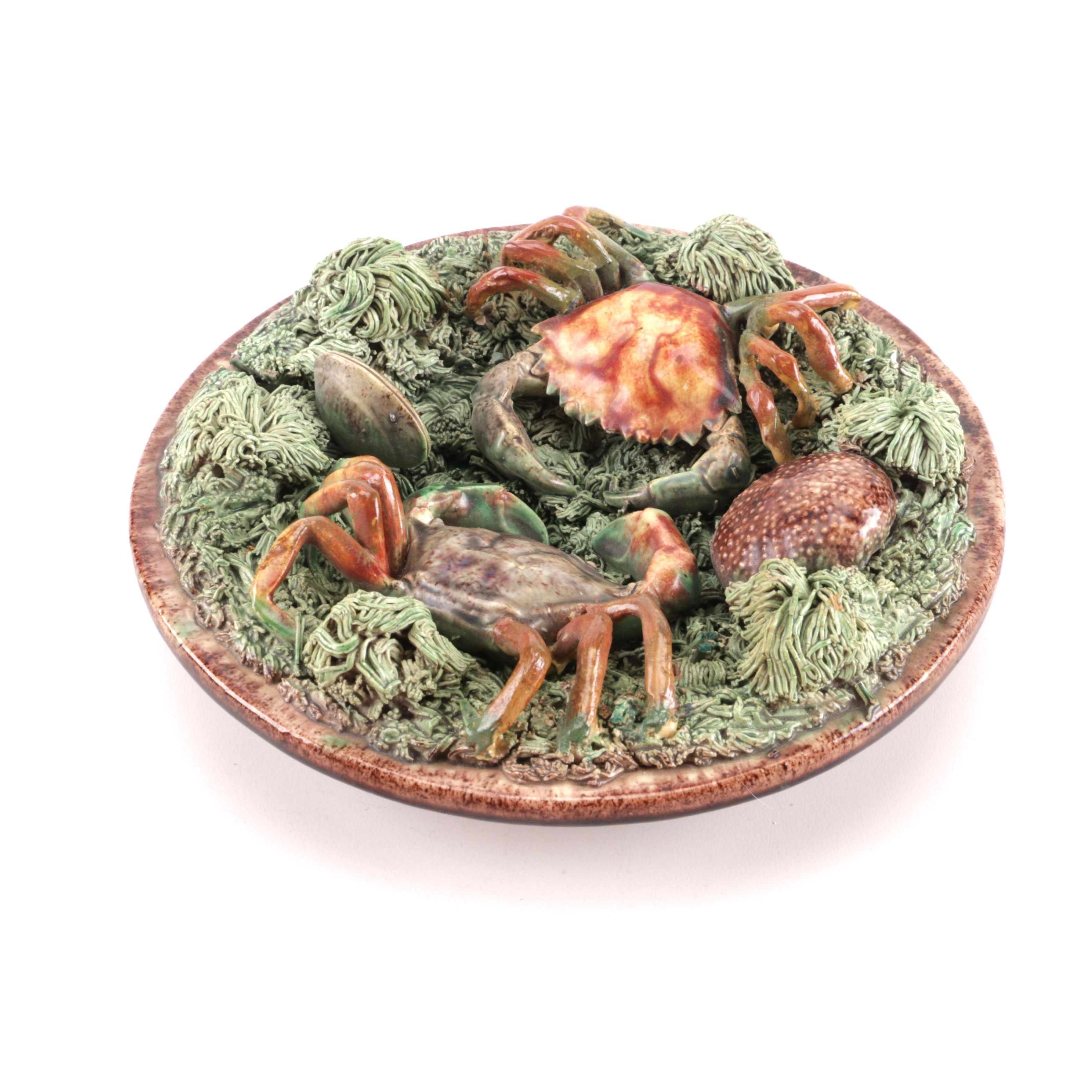 Manuel Mafra Decorative Majolica Ceramic Crab Plate