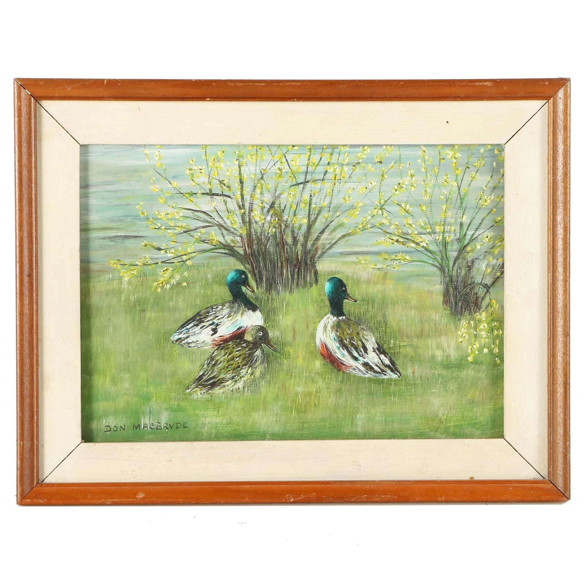 Don MacBryde Oil Painting on Canvas of Mallards