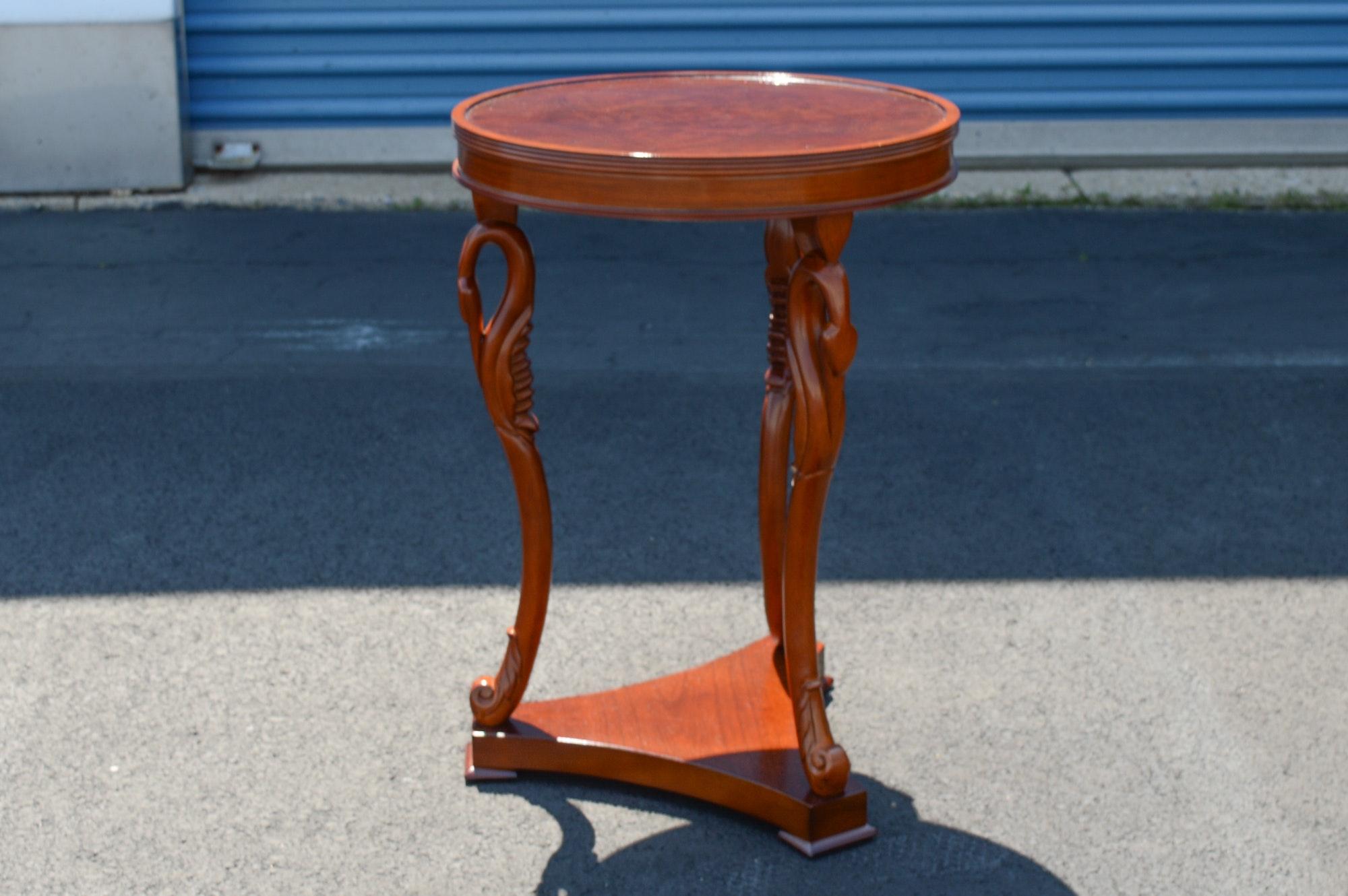 Vintage Empire Style Swan Leg Round Table ...