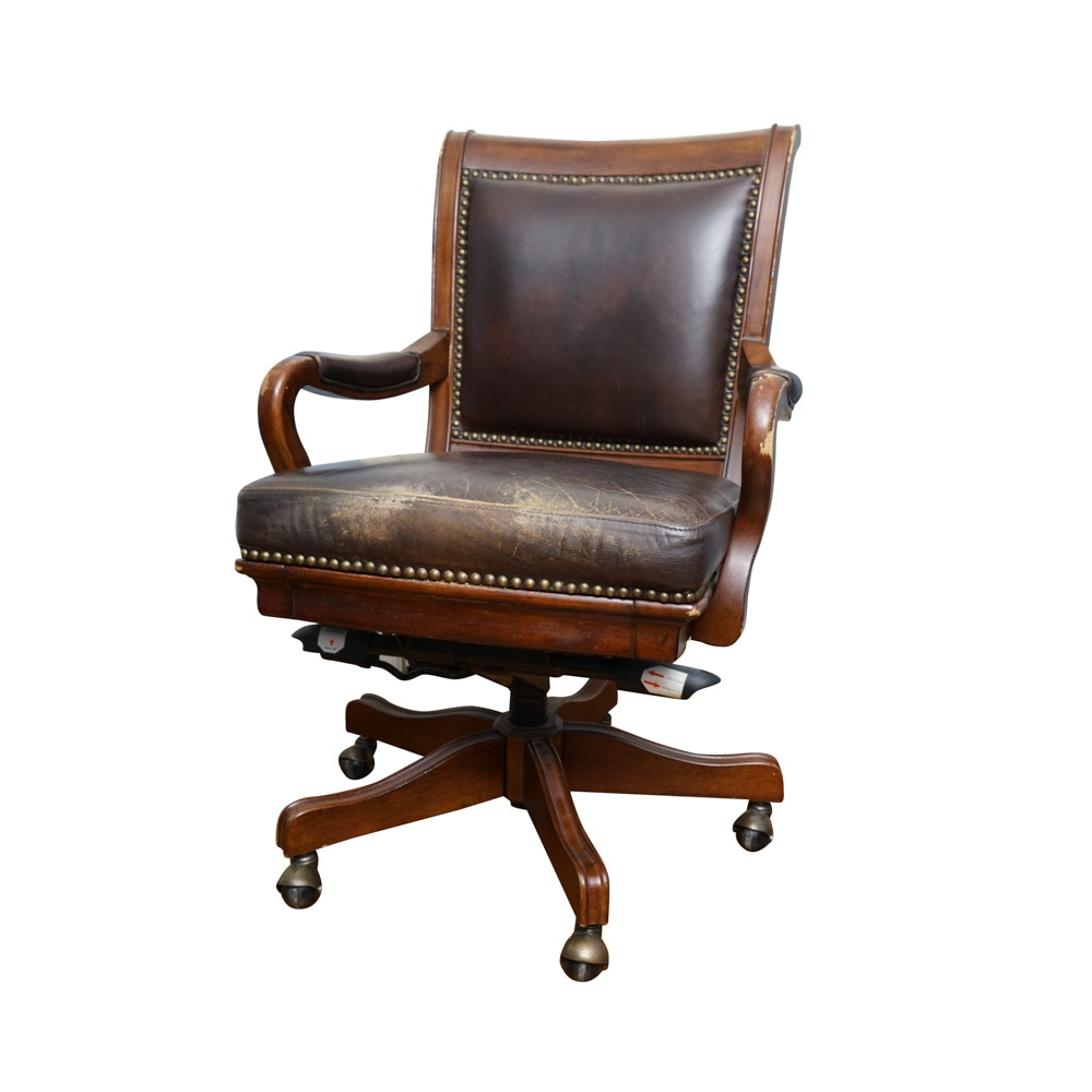 Leather and Mahogany Desk Chair