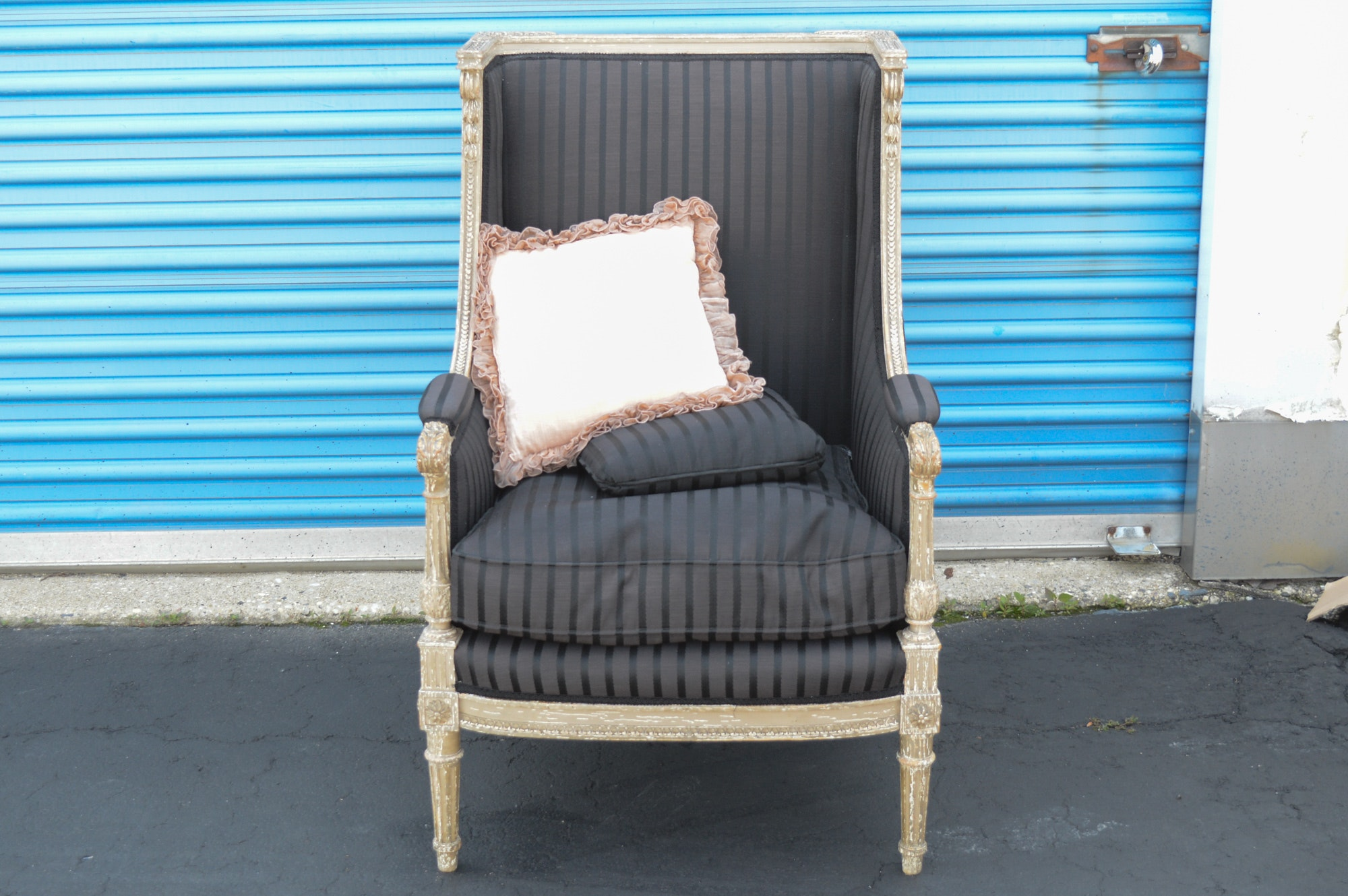 Vintage Louis XVI Style Upholstered Wing Chair