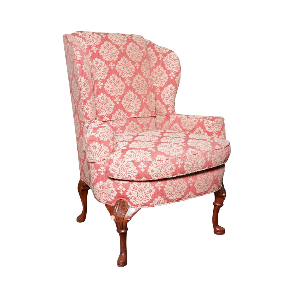 Light Red and White Wingback Armchair