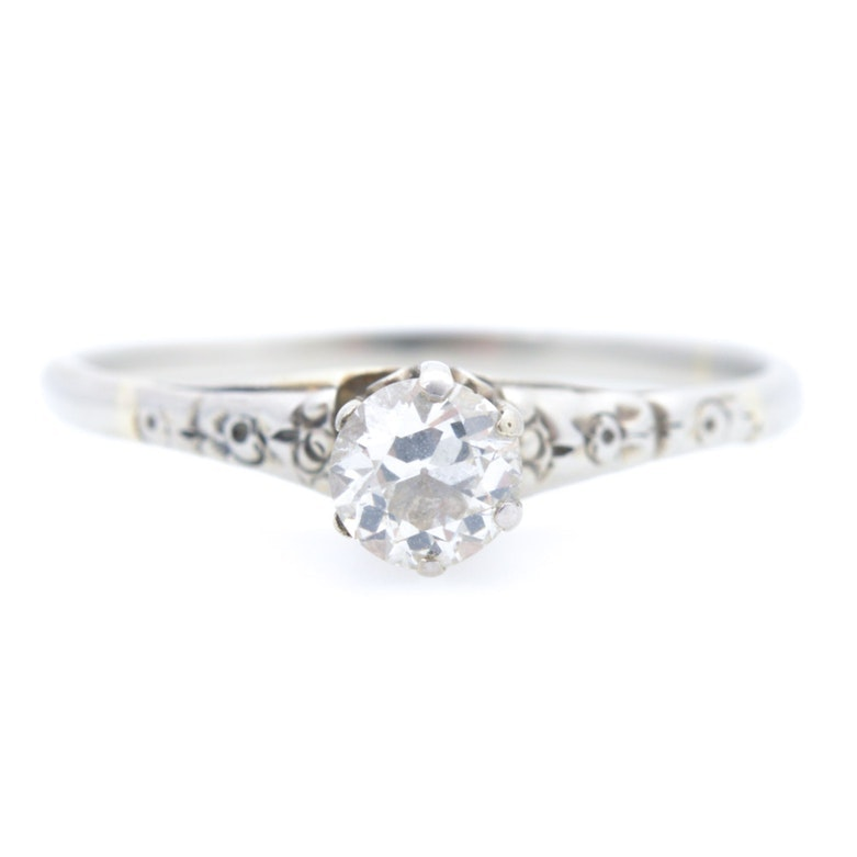 Platinum and 14K White Gold Diamond Ring