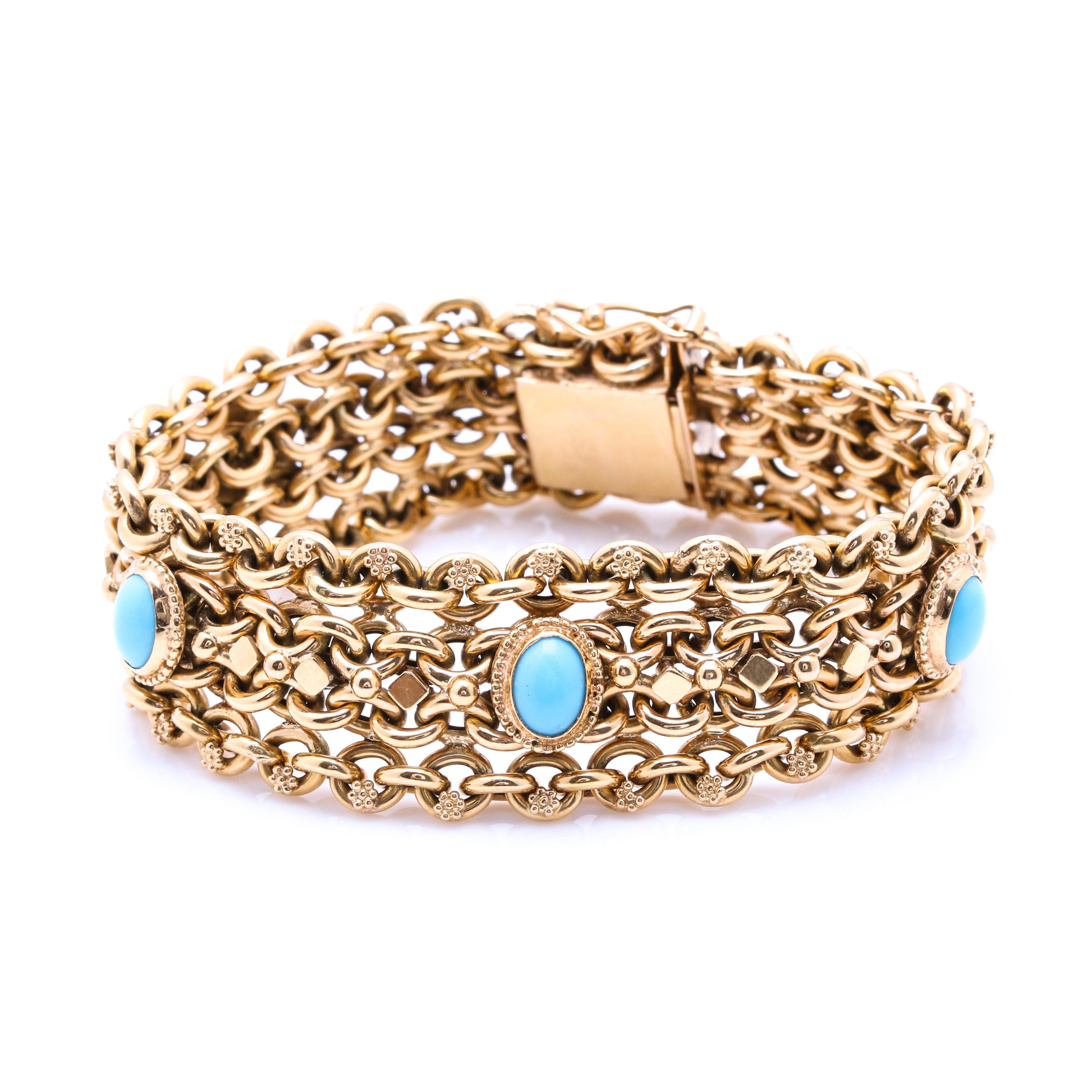 18K Yellow Gold Turquoise Fancy Chain Link Bracelet