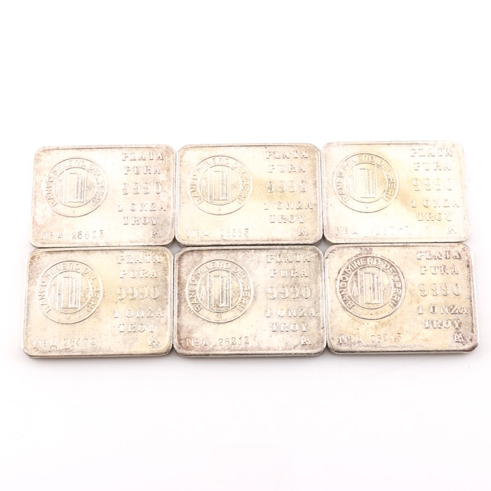 Six One Troy Ounce Silver Bars
