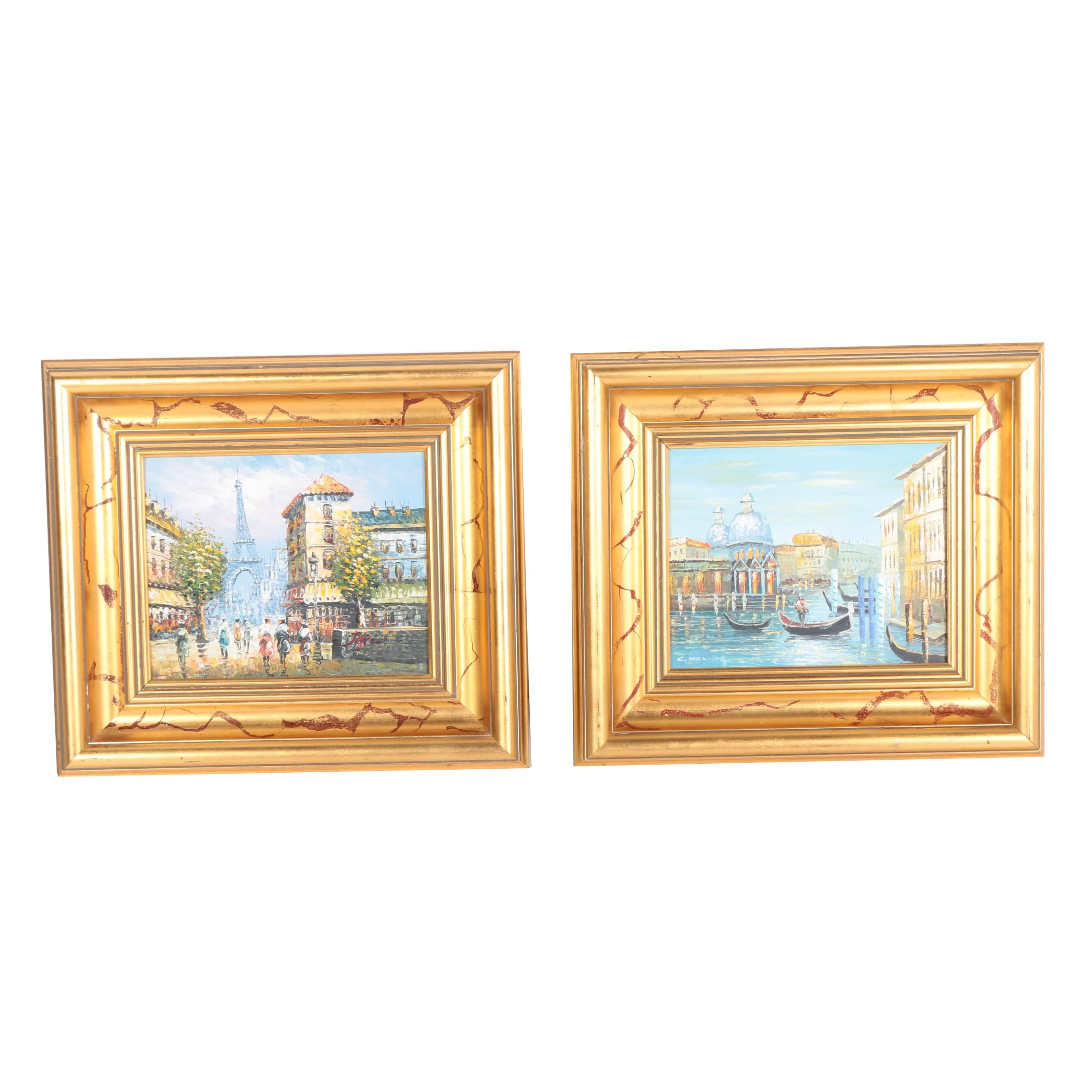 Two Signed Oil Paintings on Canvas of Venice and Paris