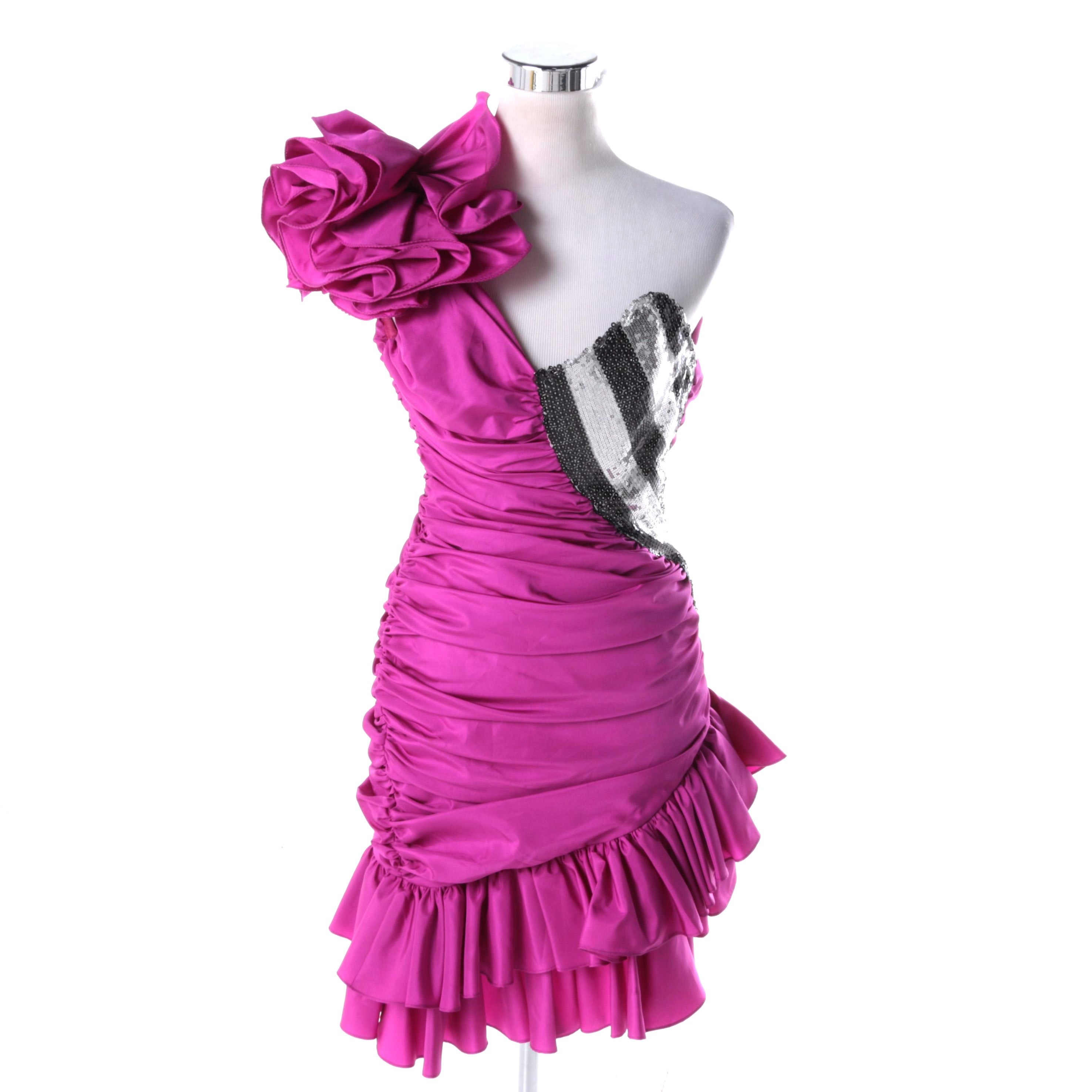 Vintage Ruffled Purple and Sequined Cocktail Dress