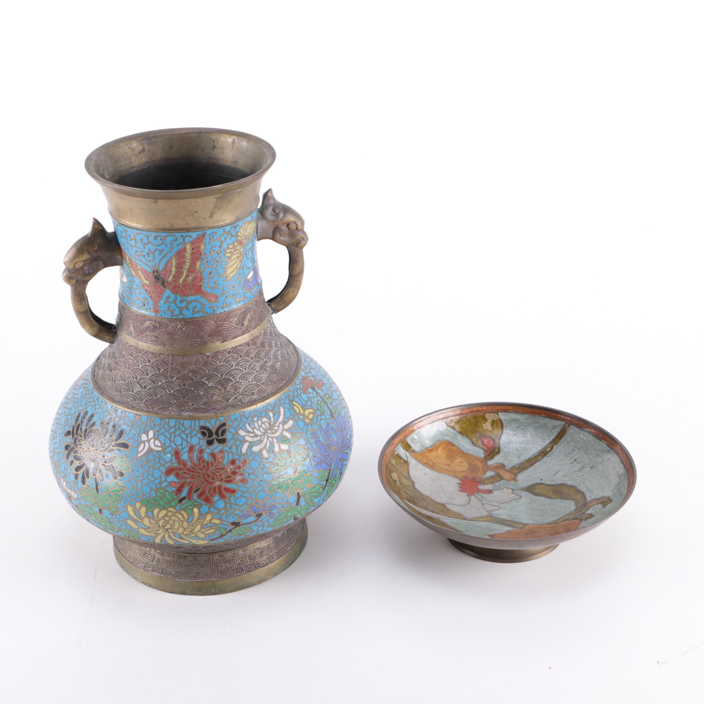 Cloisonné Enamel Vase and Pin Dish