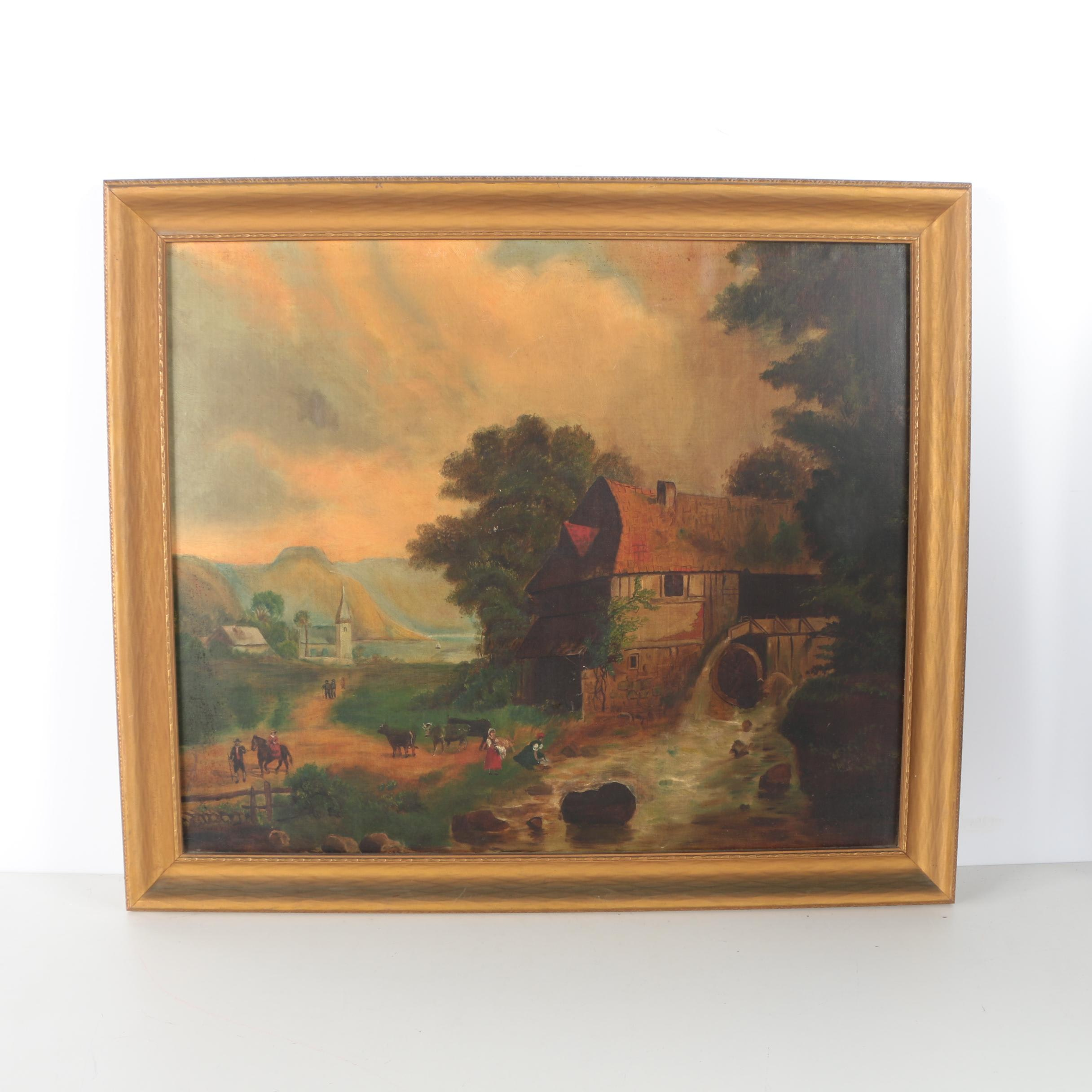 Oil Painting on Canvas Board of an Idyllic Pastoral Scene