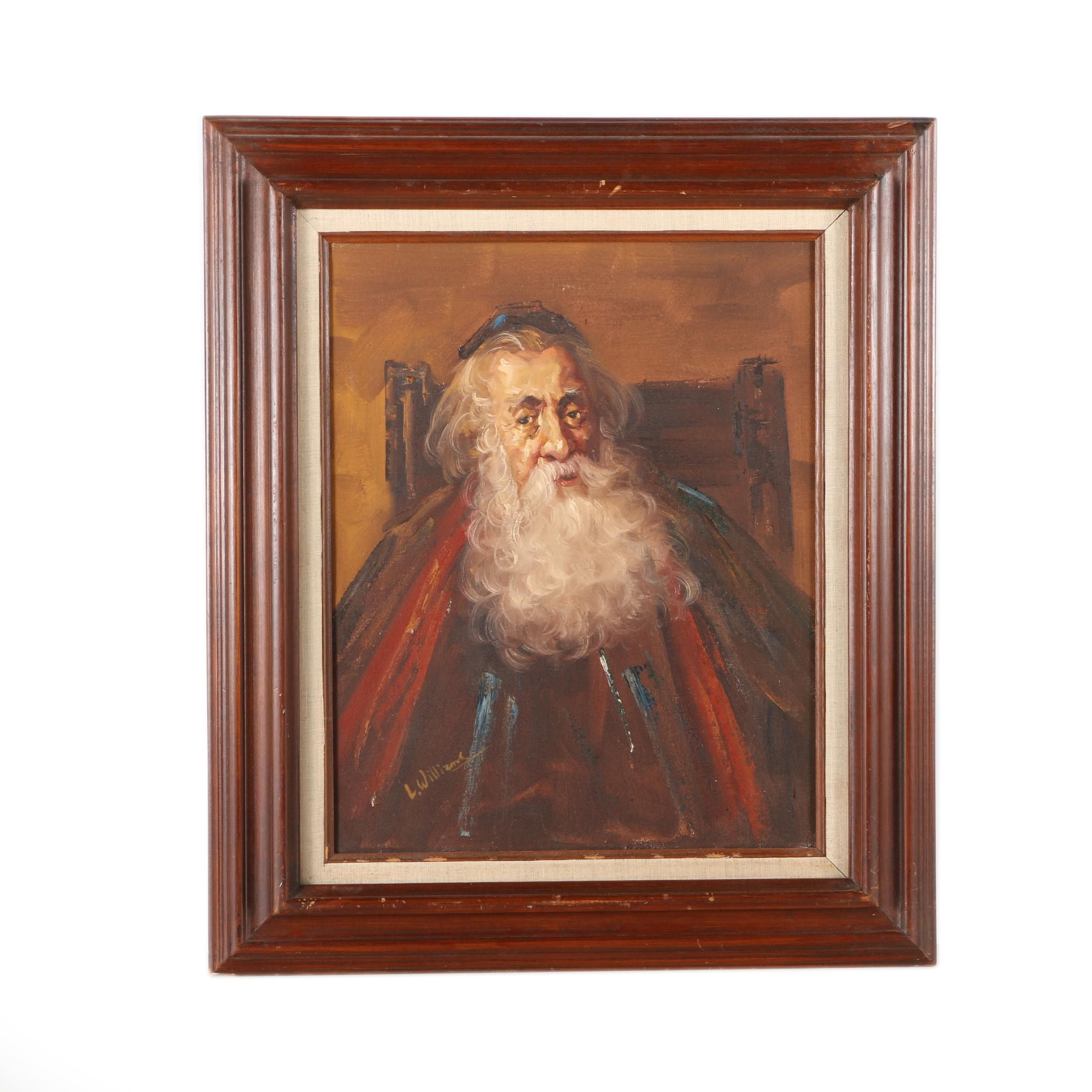L. Williams Oil Painting on Canvas Portrait of Man in Robes