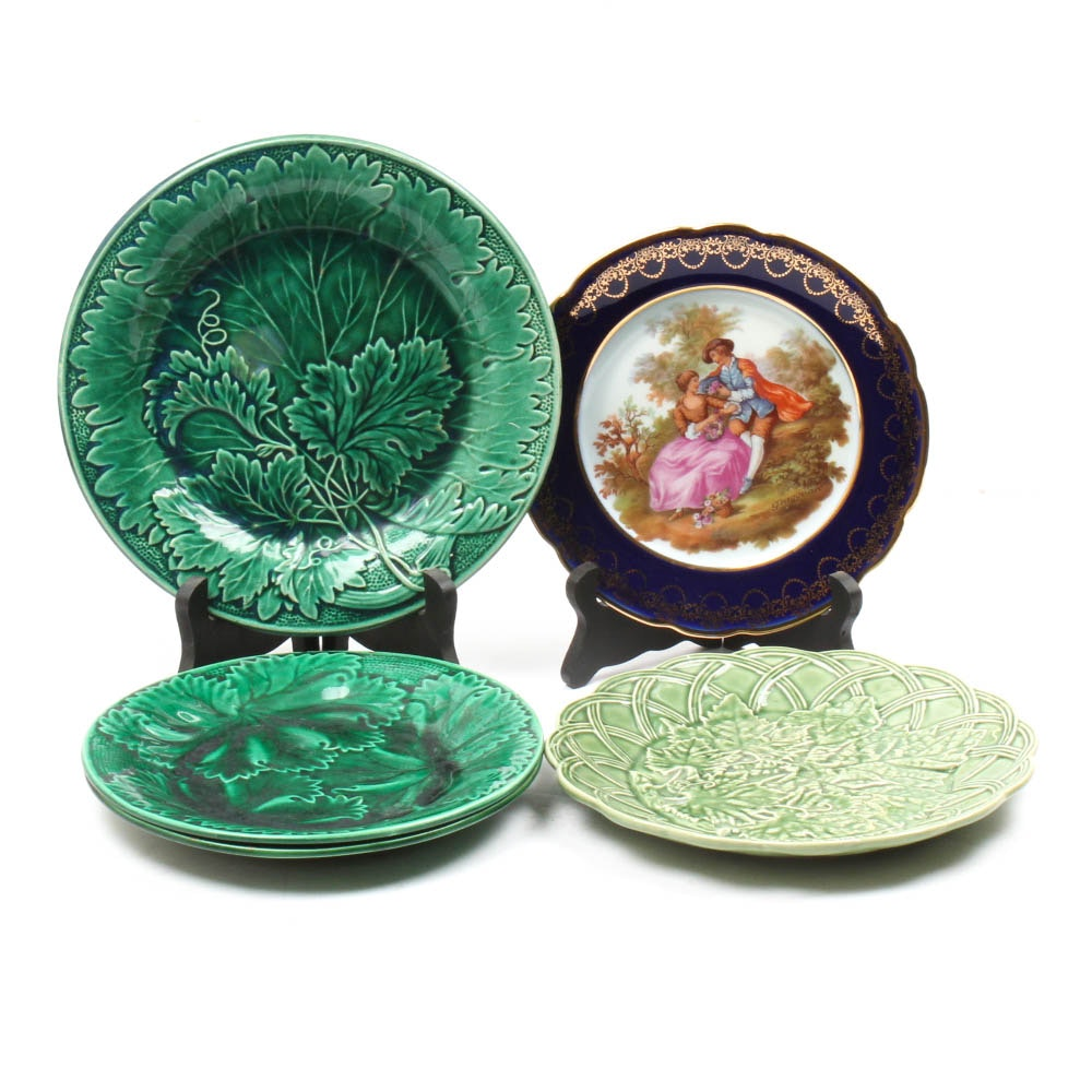 Ceramic Plates Featuring Limoges and Majolica