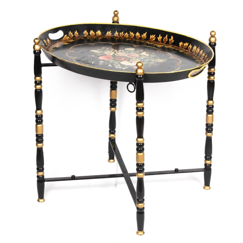 Hand-Painted Metal Tole Tray Table
