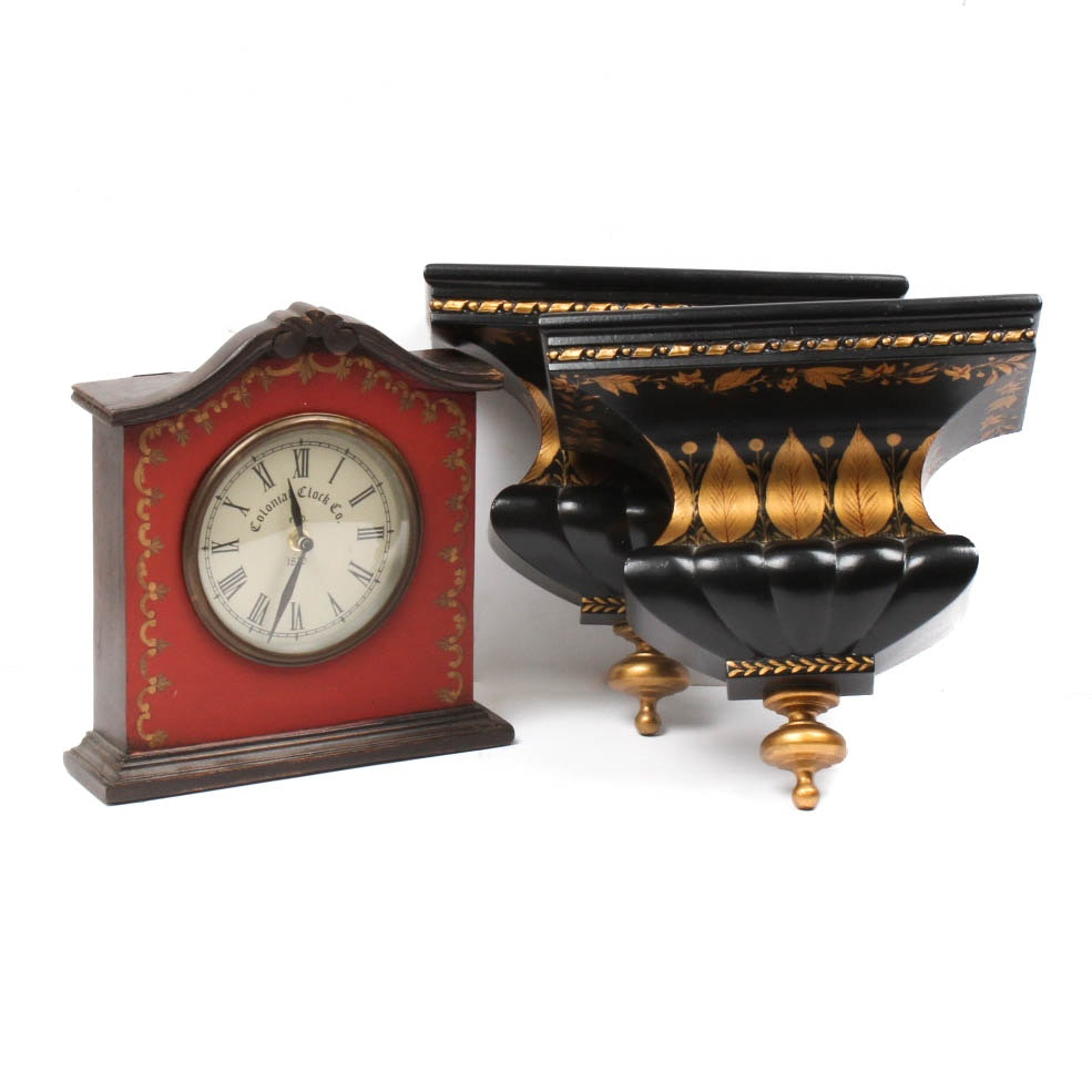 Mantel Clock and Wall Sconces